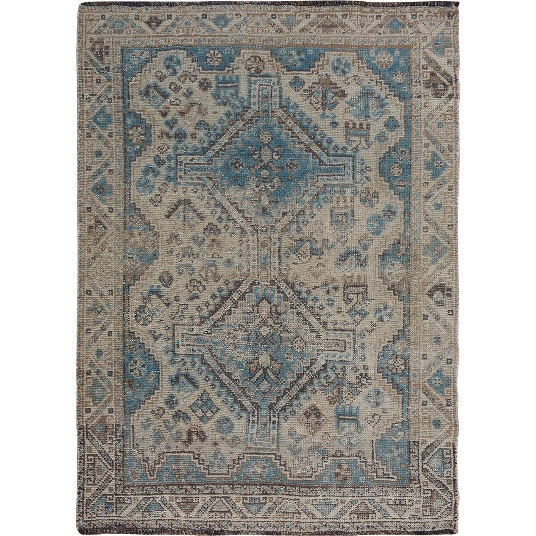 "4'7""x6'1"" Natural Colors Worn Down Vintage Persian Shiraz  Pure Wool Hand Woven Oriental Rug"
