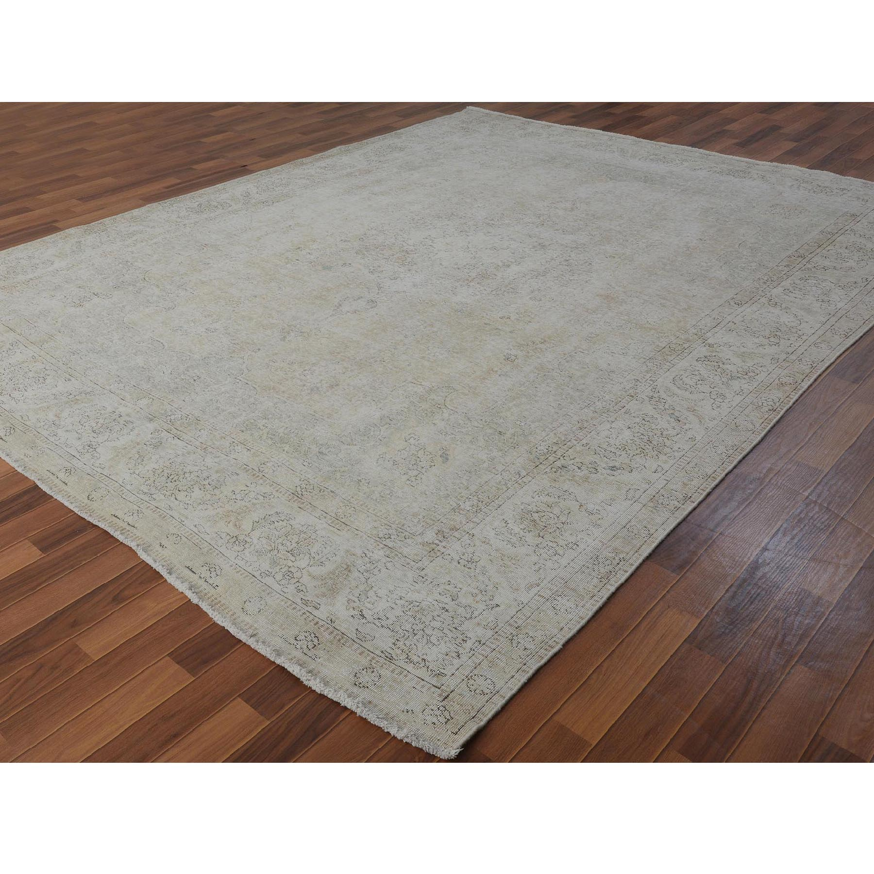 "9'7""x12'2"" White Overdyed Worn Down Persian Tabriz Pure Wool Hand Woven Oriental Rug"