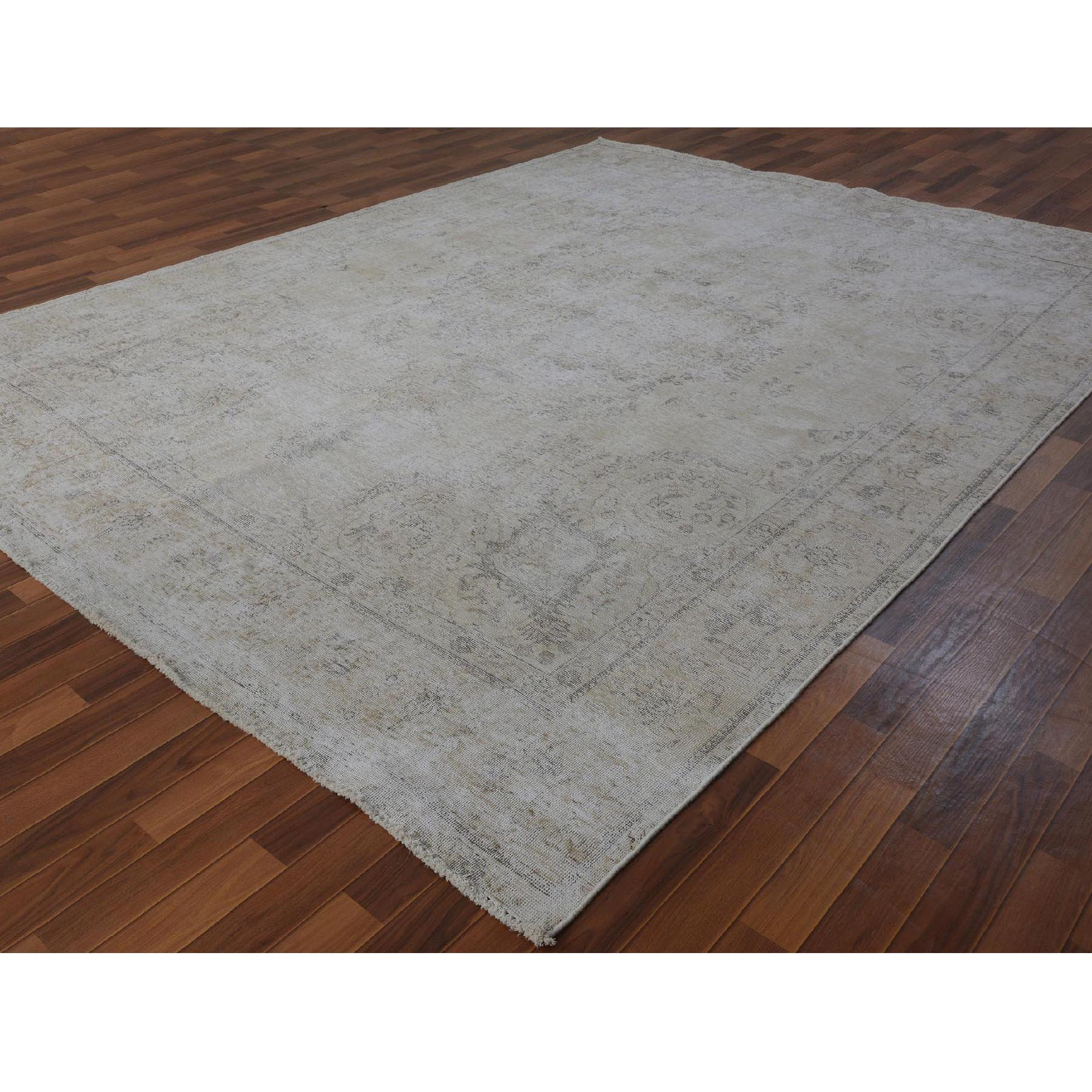 "9'4""x12'3"" Washed Out and Worn Down Vintage Persian Tabriz Pure Wool Hand Woven Oriental Rug"