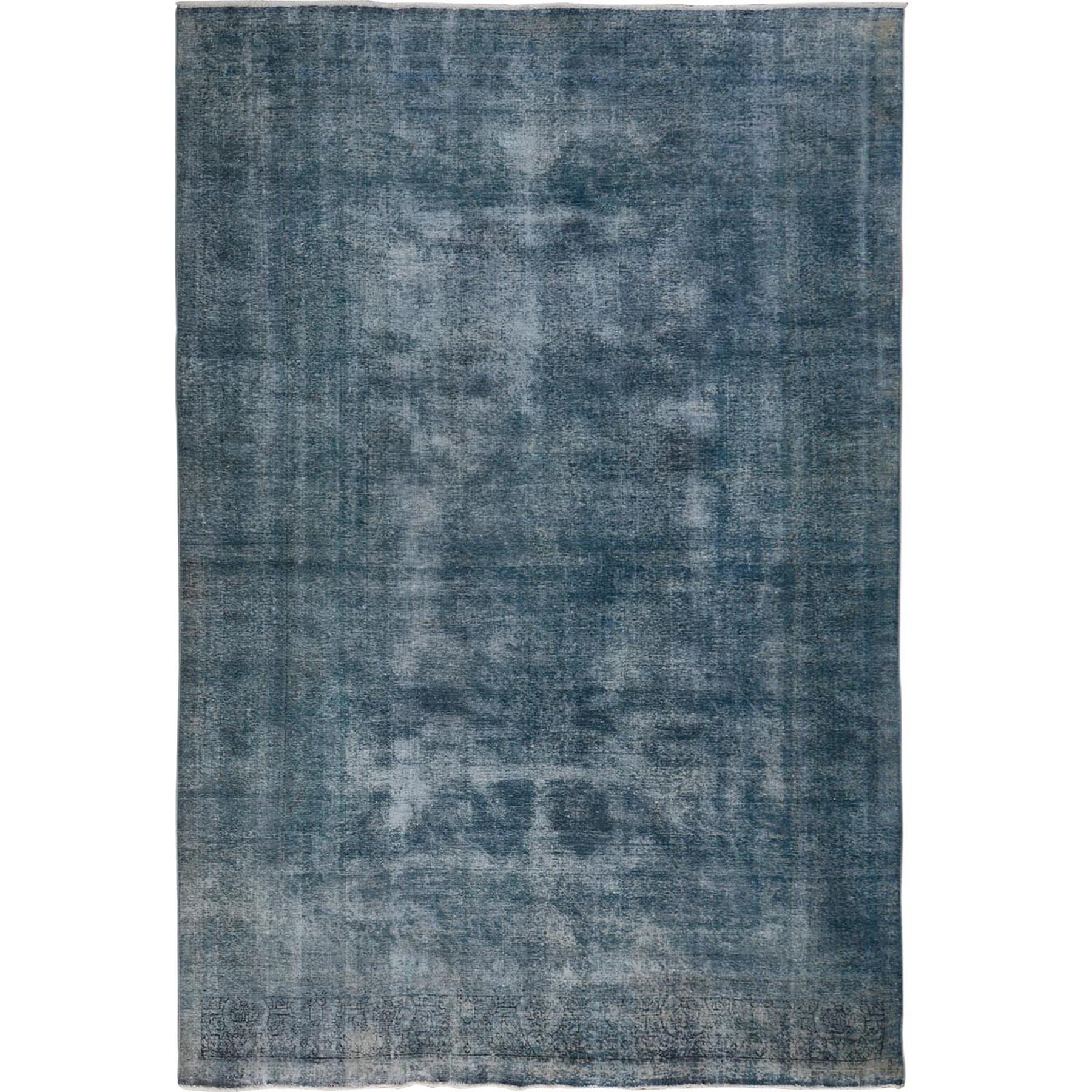 "9'6""x12'9"" Dark Blue Overdyed Worn Down and Vintage Persian Tabriz Hand Woven Oriental Rug"