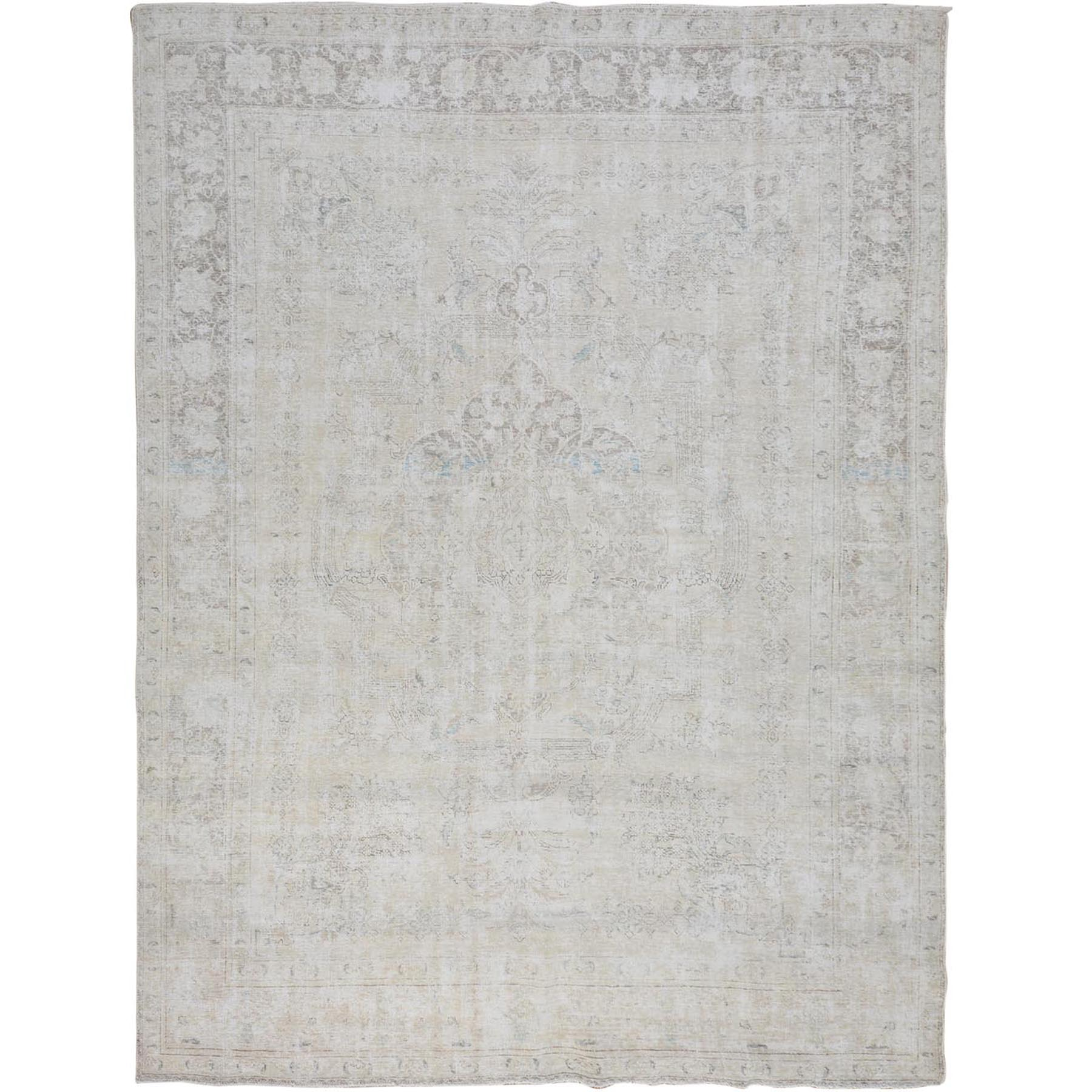 "9'4""x12'3"" White Overdyed Worn Down Persian Tabriz Pure Wool Hand Woven Oriental Rug"