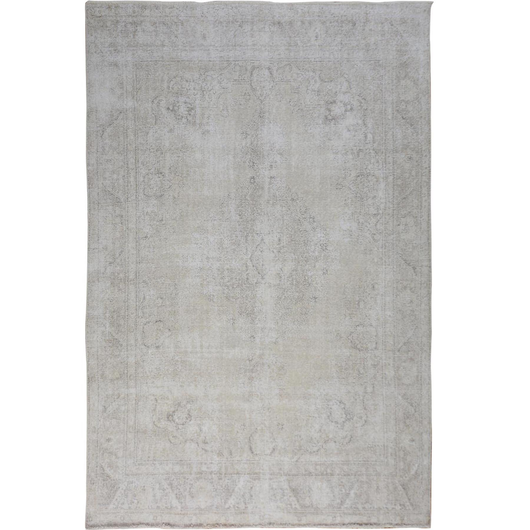 "9'3""x12'6"" White Overdyed Worn Down Persian Tabriz Pure Wool Hand Woven Oriental Rug"