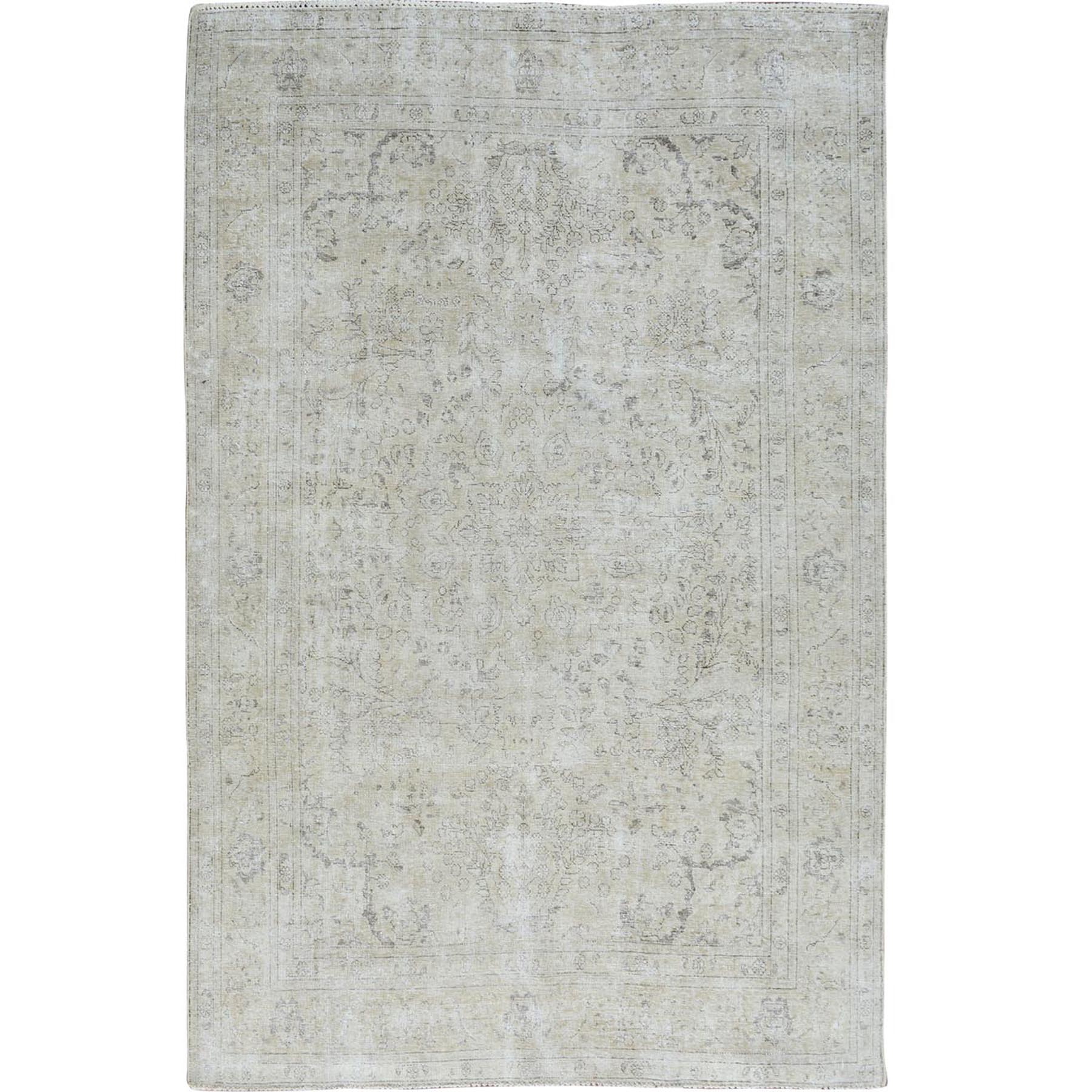 "6'9""x9'9"" White Wash Vintage and Worn Down Persian Tabriz Pure Wool Hand Woven Oriental Rug"