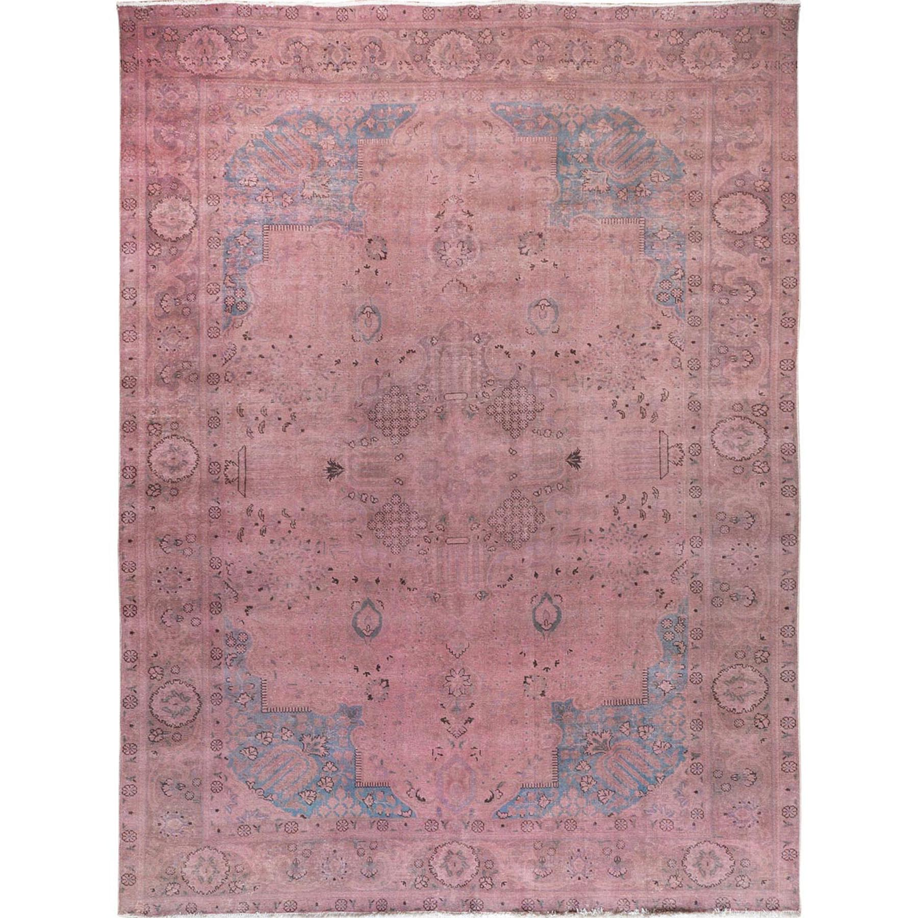 "9'9""x12'10"" Pink Overdyed Worn Down Persian Tabriz Pure Wool Hand Woven Oriental Rug"