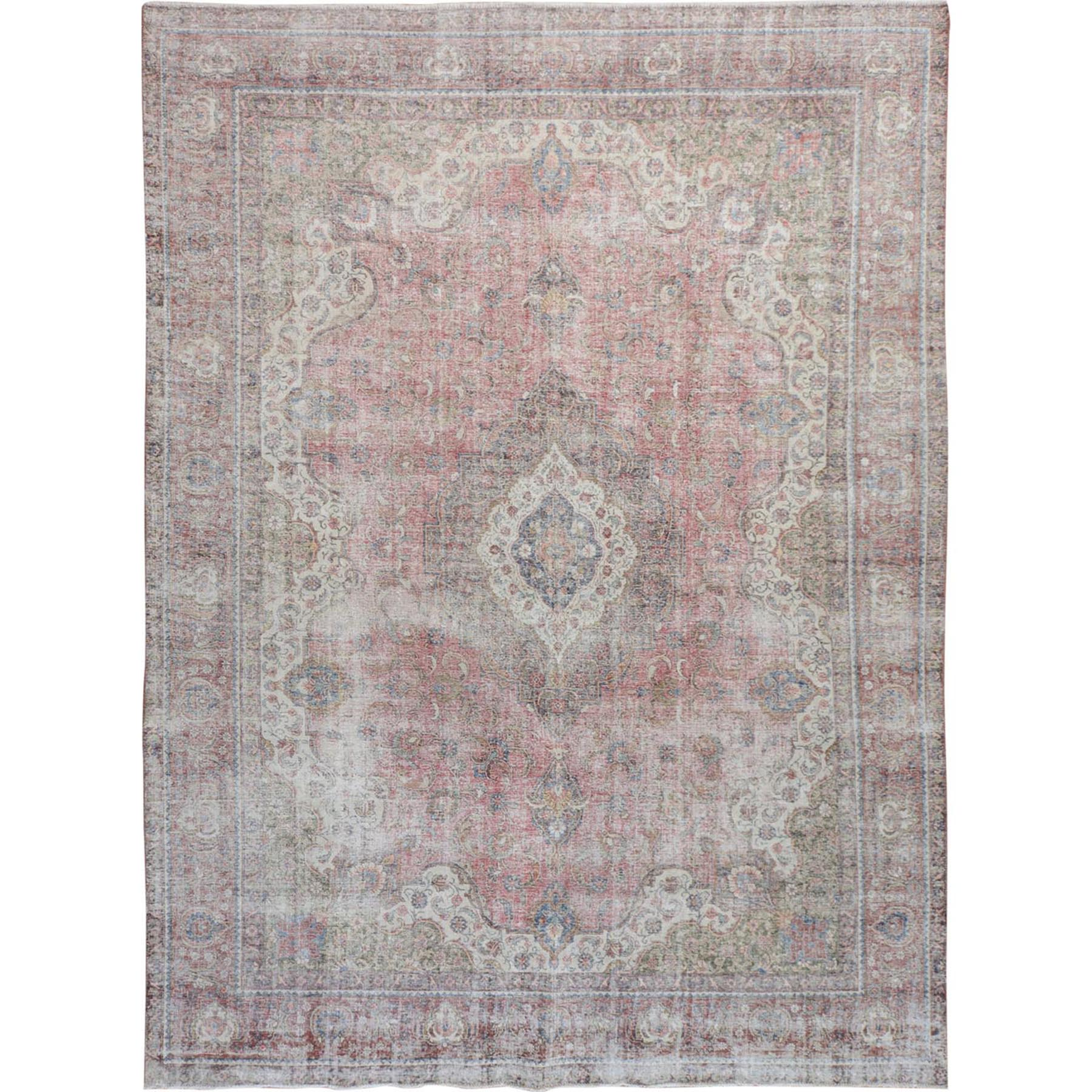 "9'4""x12'5"" Light Red Vintage Persian Tabriz Worn Down Hand Woven Pure Wool Oriental Rug"