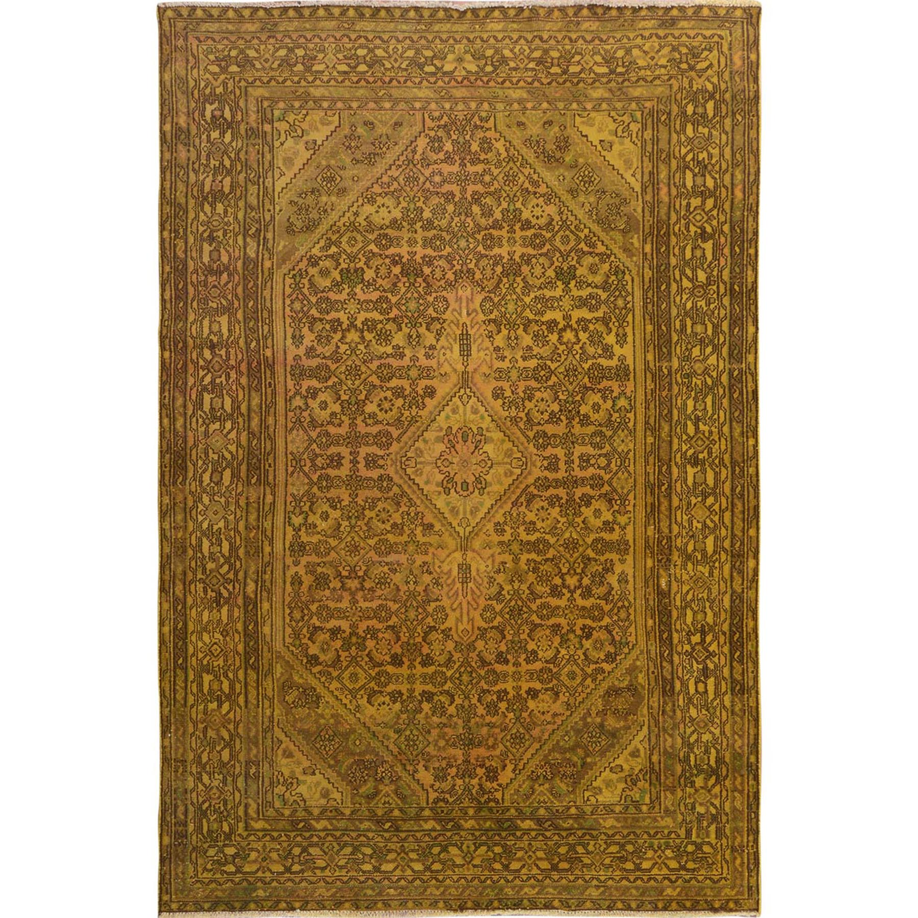 "6'10""x10'3"" Yellow Overdyed Vintage Bibikabad Persian Worn Down Hand Woven Pure Wool Oriental Rug"