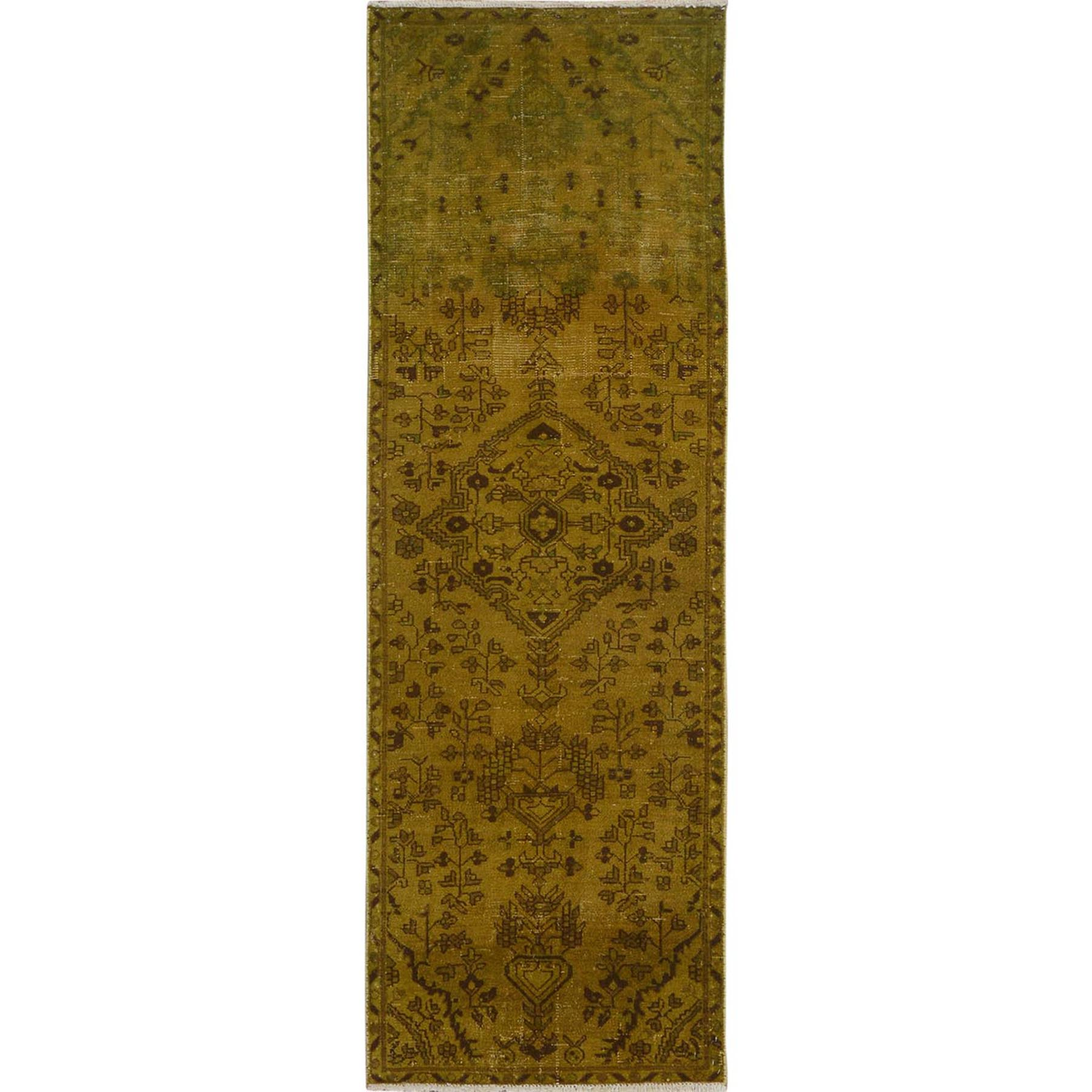 "2'9""x8'6"" Gold Green Overdyed and Vintage Worn Down Persian Bibikabad Runner Hand Woven Oriental Rug"