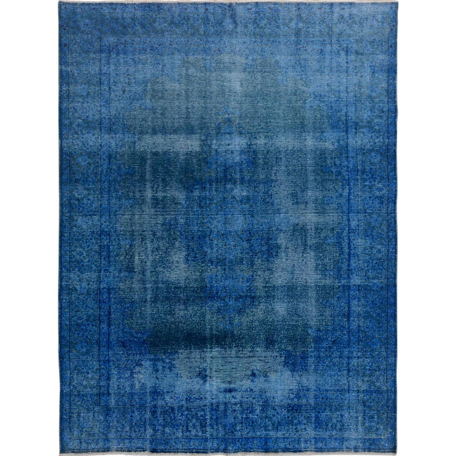"7'x9'3"" Blue Overdyed Clean Worn Down Vintage Persian Kerman Pure Wool Hand Woven Oriental Rug"