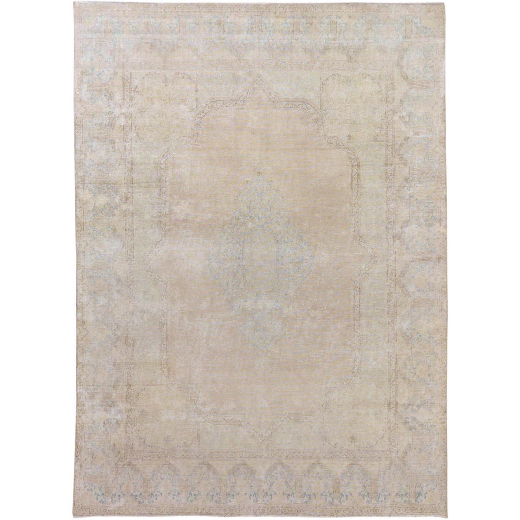 "8'9""x11'10"" Ivory Washed Out and Worn Down Vintage Persian Kerman Pure Wool Hand Woven Oriental Rug"