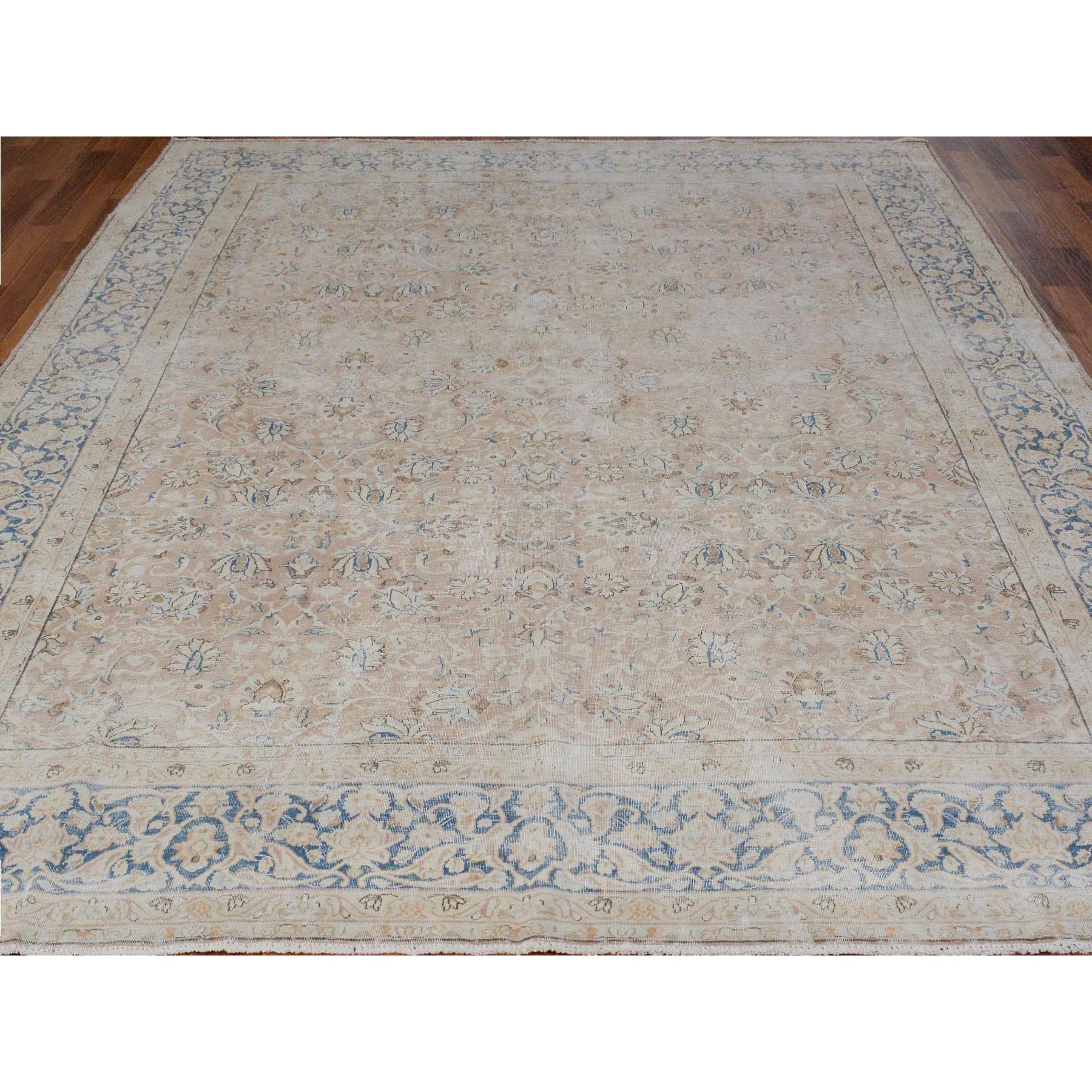 "8'x10'9"" Faded Coral Worn Down Vintage Persian Kerman Pure Wool Hand Woven Oriental Rug"