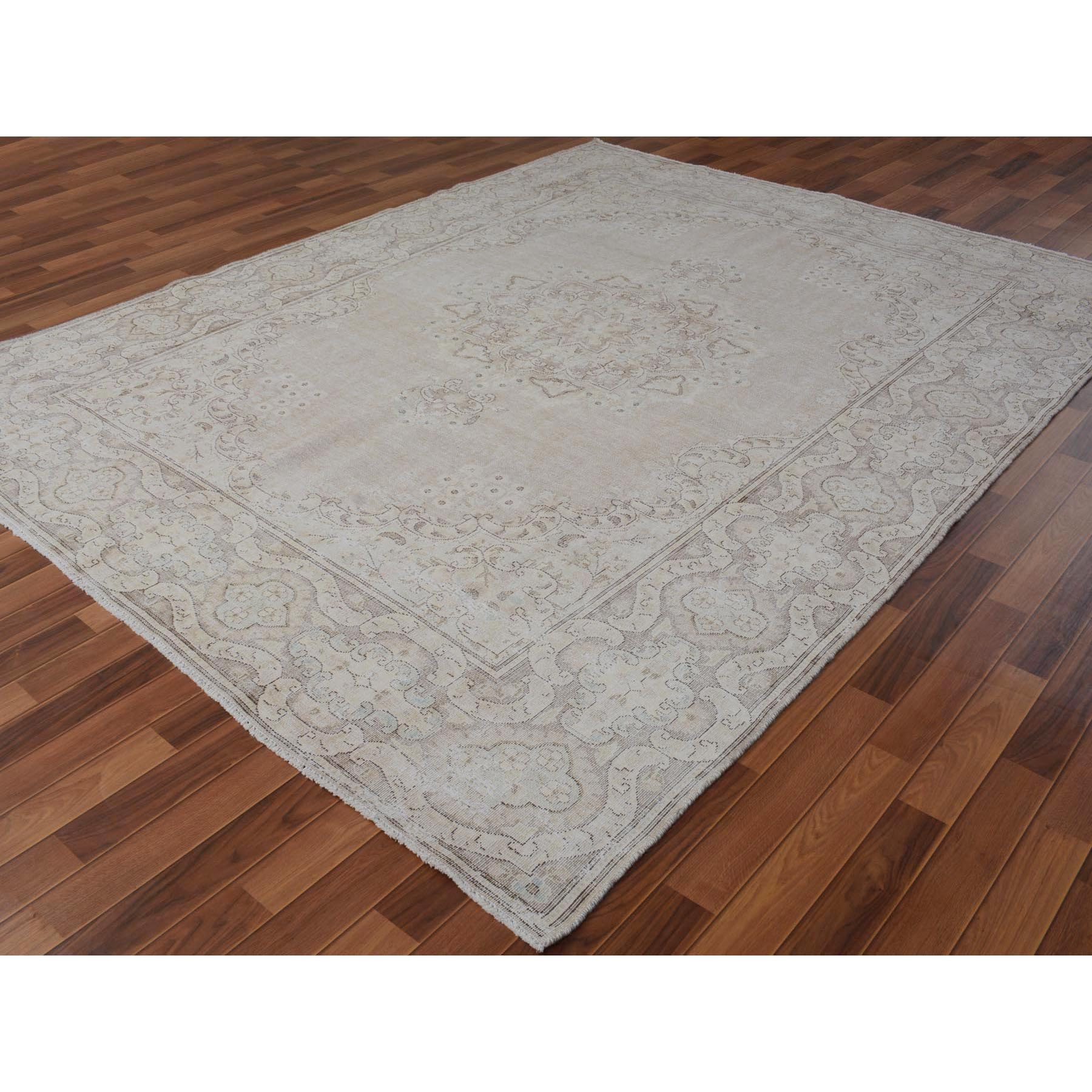 "8'x10'5"" Beige Washed Out and Worn Down Vintage Persian Kerman Pure Wool Hand Woven Oriental Rug"