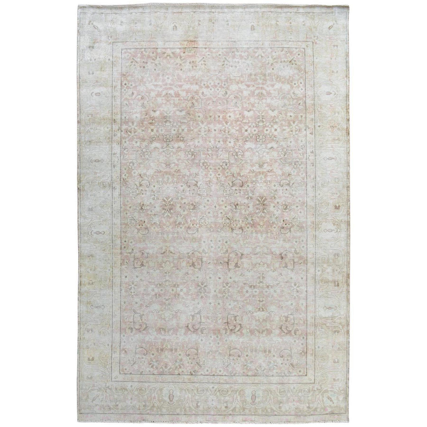 "6'x9'1"" White Vintage and Worn Down Persian Kerman Hand Woven Pure Wool Oriental Rug"