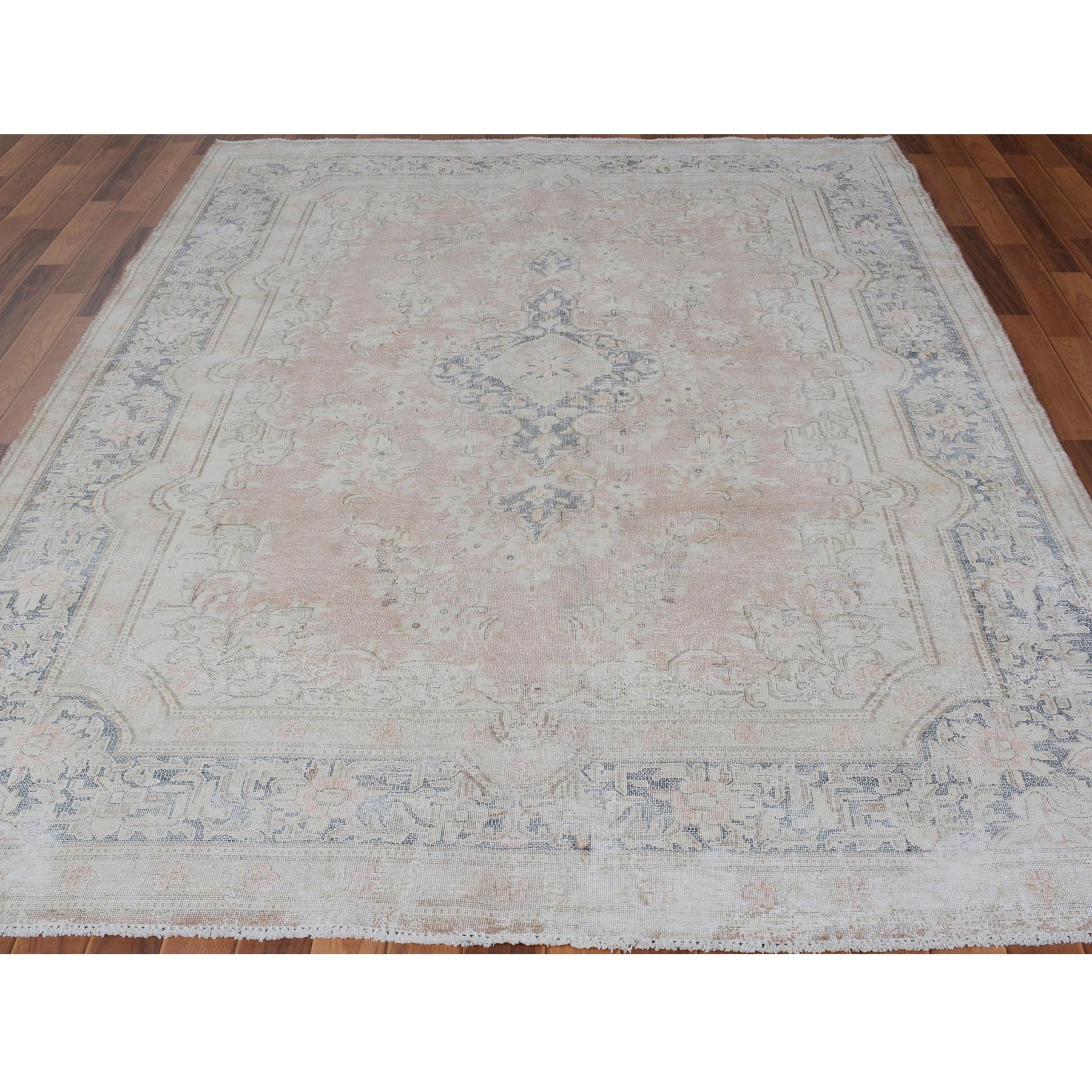 "6'5""x9'4"" Faded Coral Vintage and Worn Down Persian Kerman Hand Woven Pure Wool Oriental Rug"