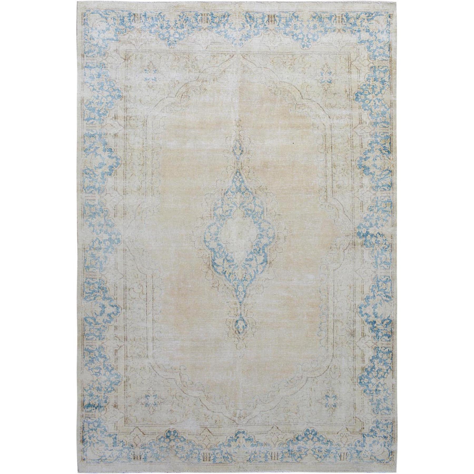 "6'7""x9'8"" Ivory Washed Out and Worn Down Vintage Persian Kerman Pure Wool Hand Woven Oriental Rug"