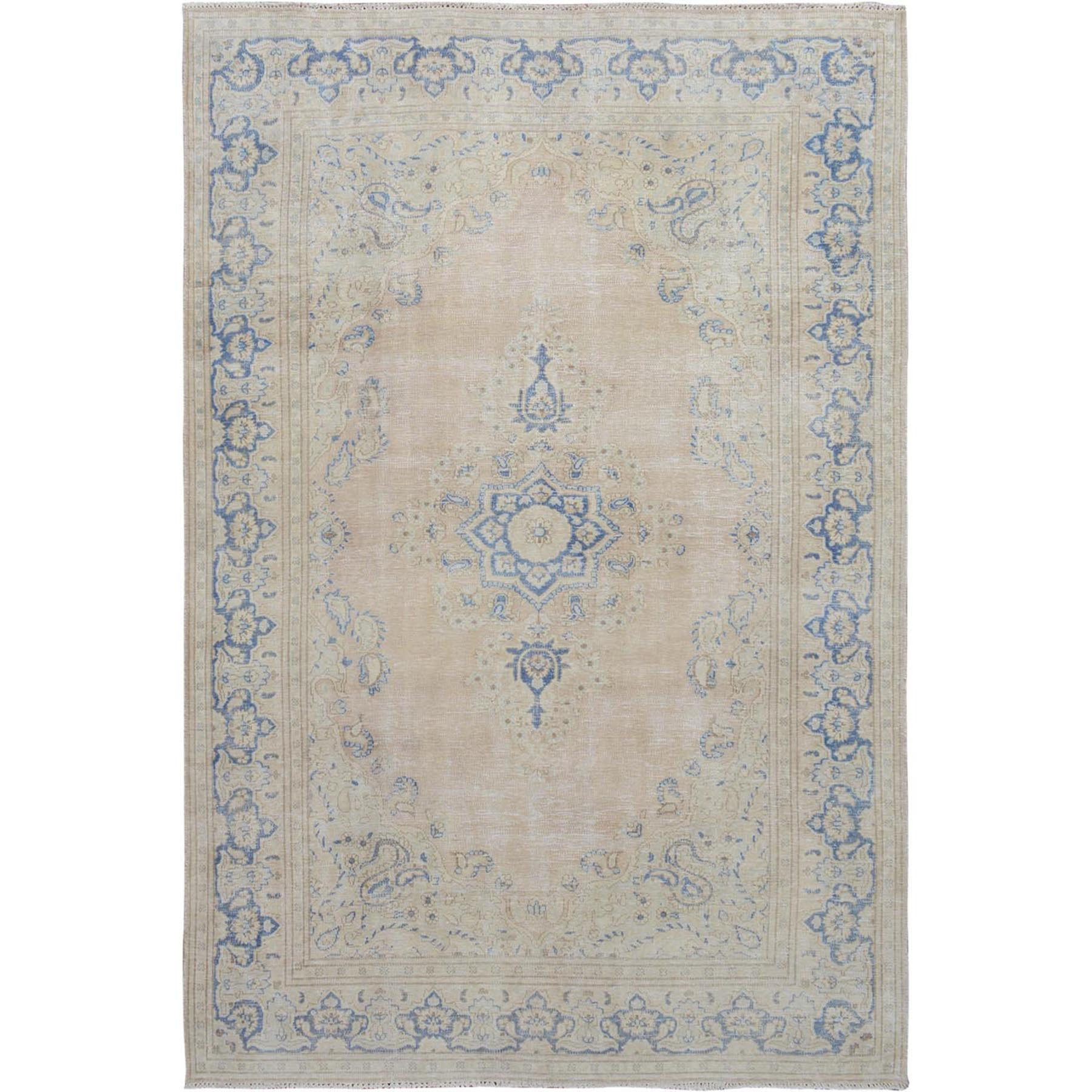 "5'7""x8'8"" Beige Washed Out and Worn Down Vintage Persian Kerman Pure Wool Hand Woven Oriental Rug"