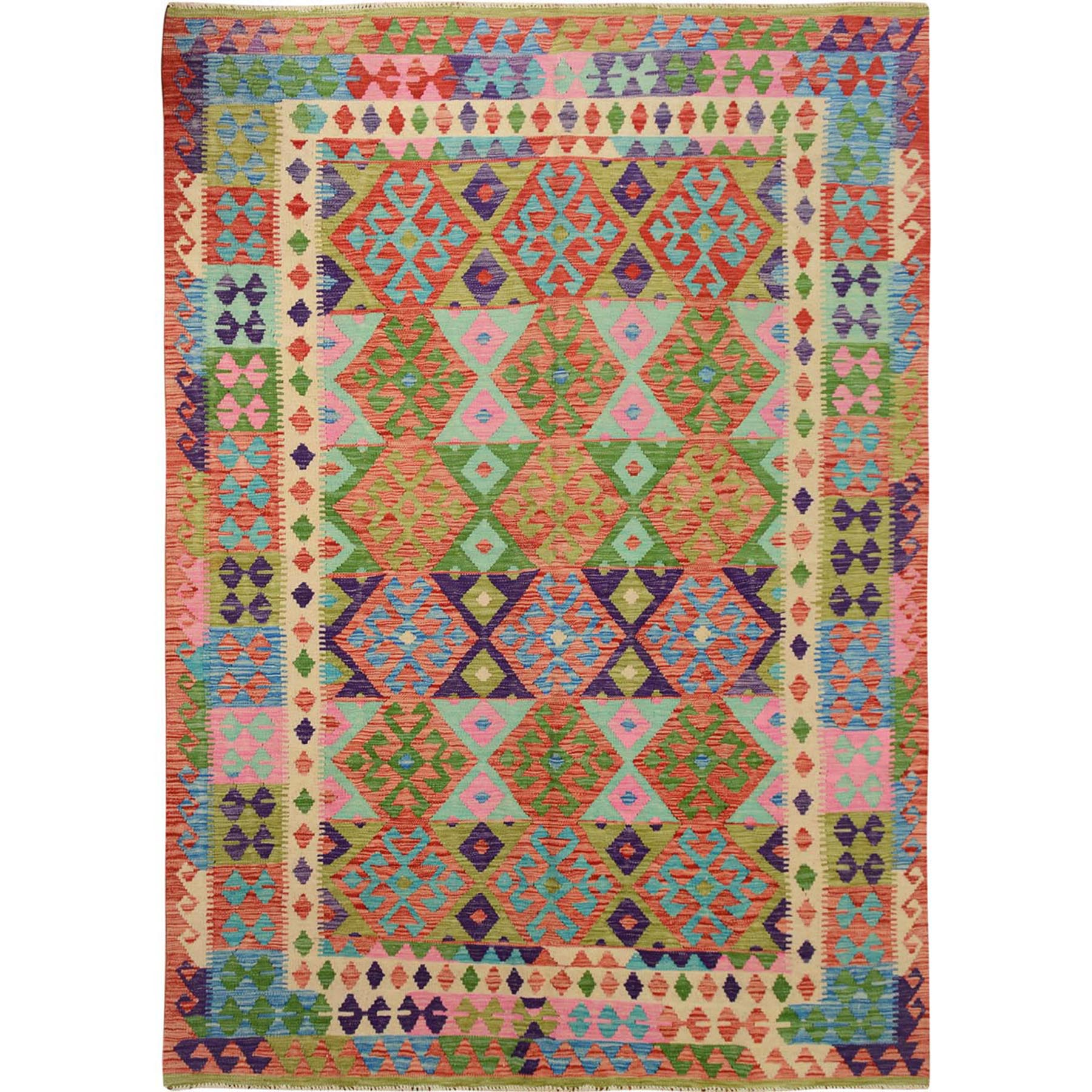 "6'6""x9'4"" Colorful Afghan Reversible Kilim Pure Wool Hand Woven Oriental Rug"