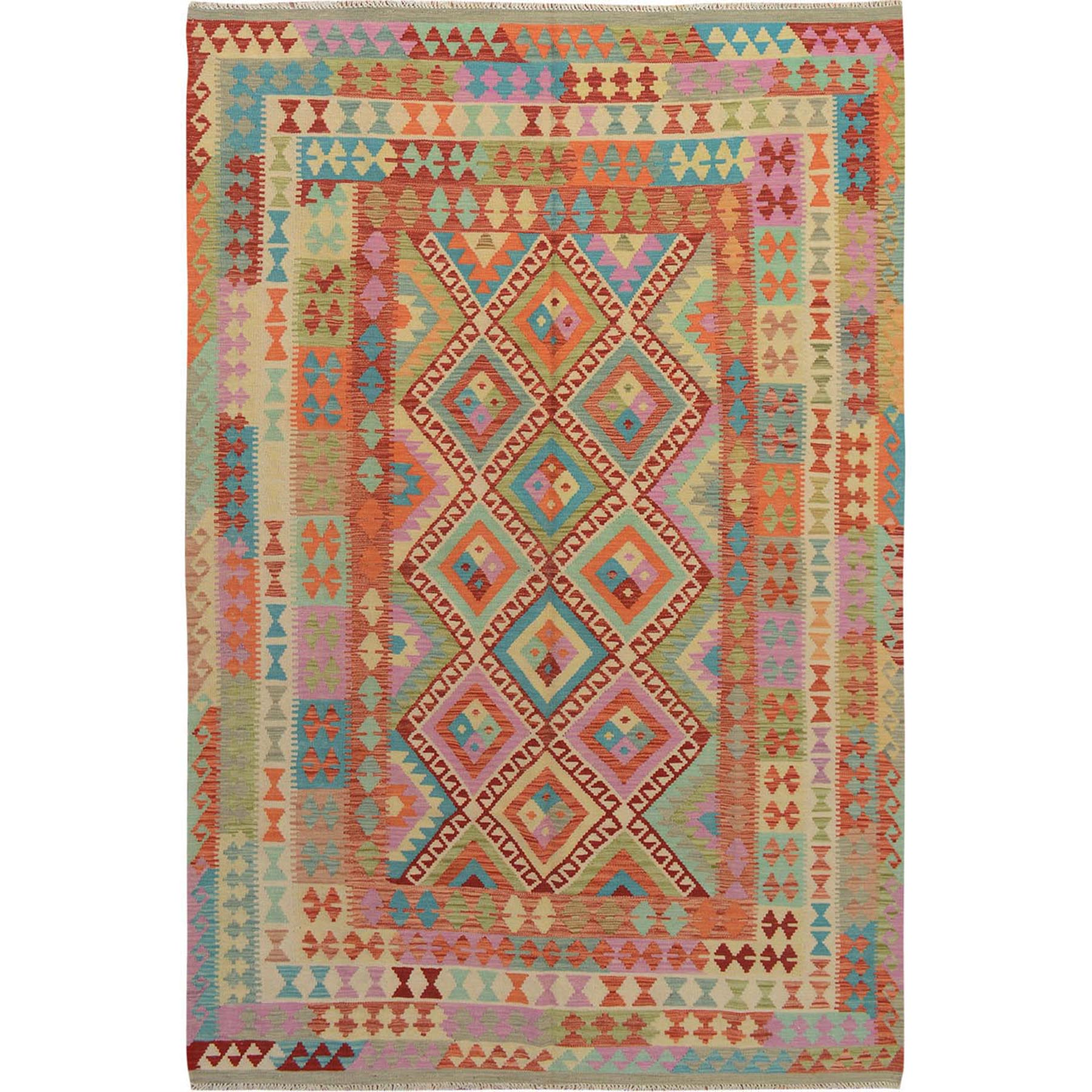 "6'6""x9'7"" Colorful Afghan Reversible Kilim Pure Wool Hand Woven Oriental Rug"