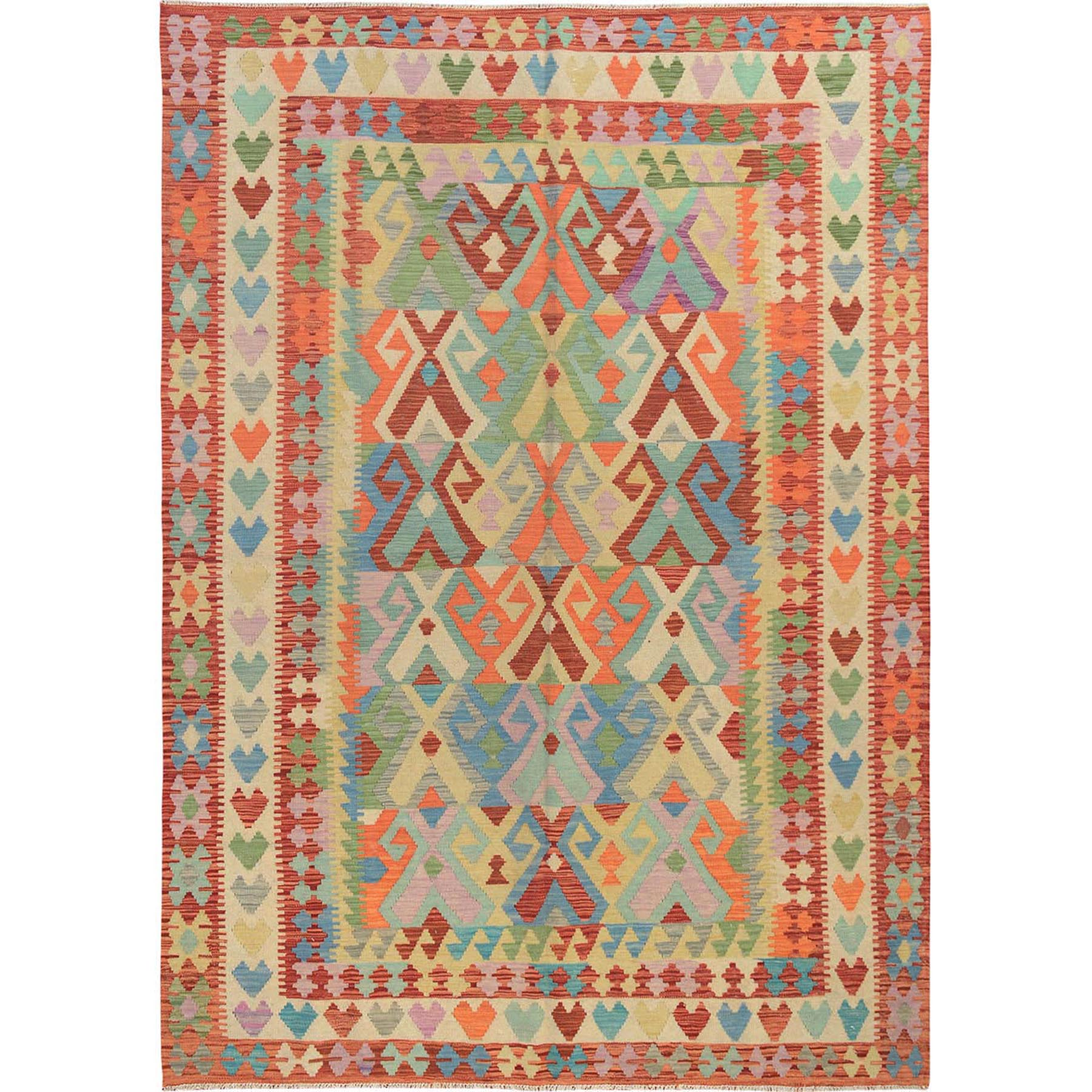 "6'8""x9'7"" Colorful Reversible Afghan Kilim Vegetable Dyes Pure Wool Hand Woven Oriental Rug"
