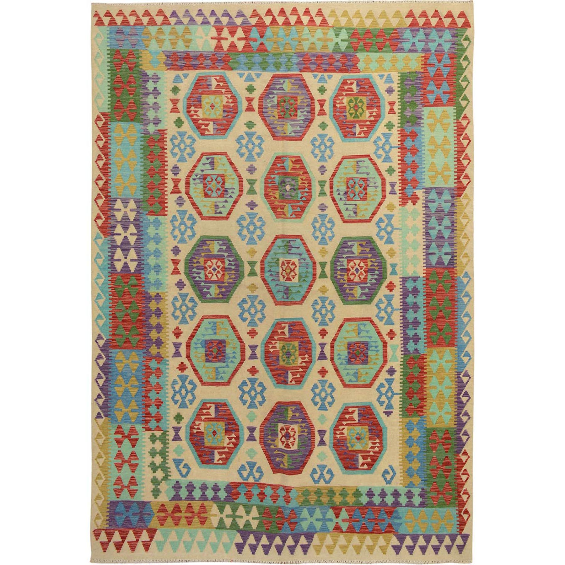 "6'8""x9'8"" Colorful Reversible Flat weave Afghan Kilim Pure Wool Hand Woven Oriental Rug"