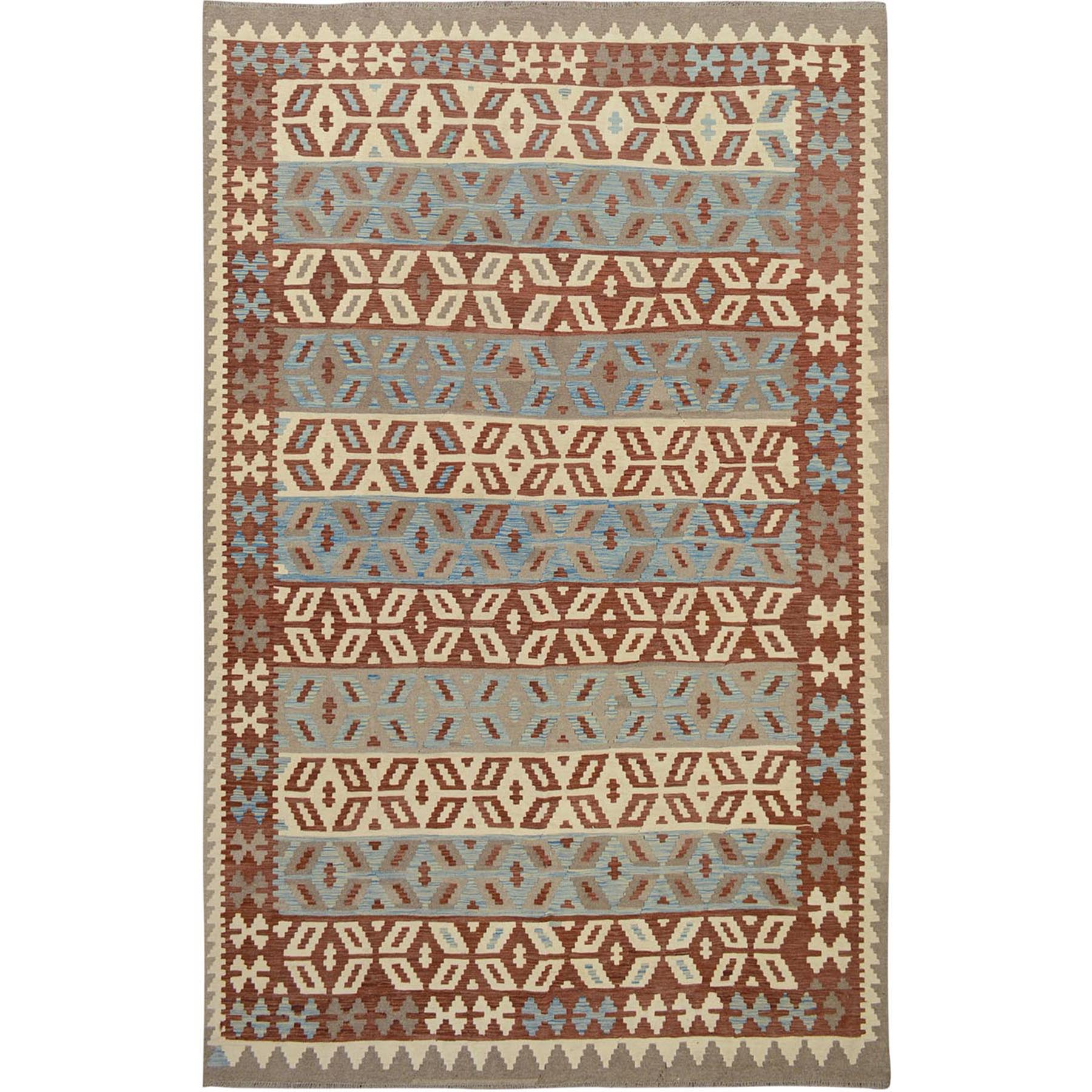 "6'8""x9'10"" Brown Reversible Afghan Kilim Vegetable Dyes Pure Wool Hand Woven Oriental Rug"