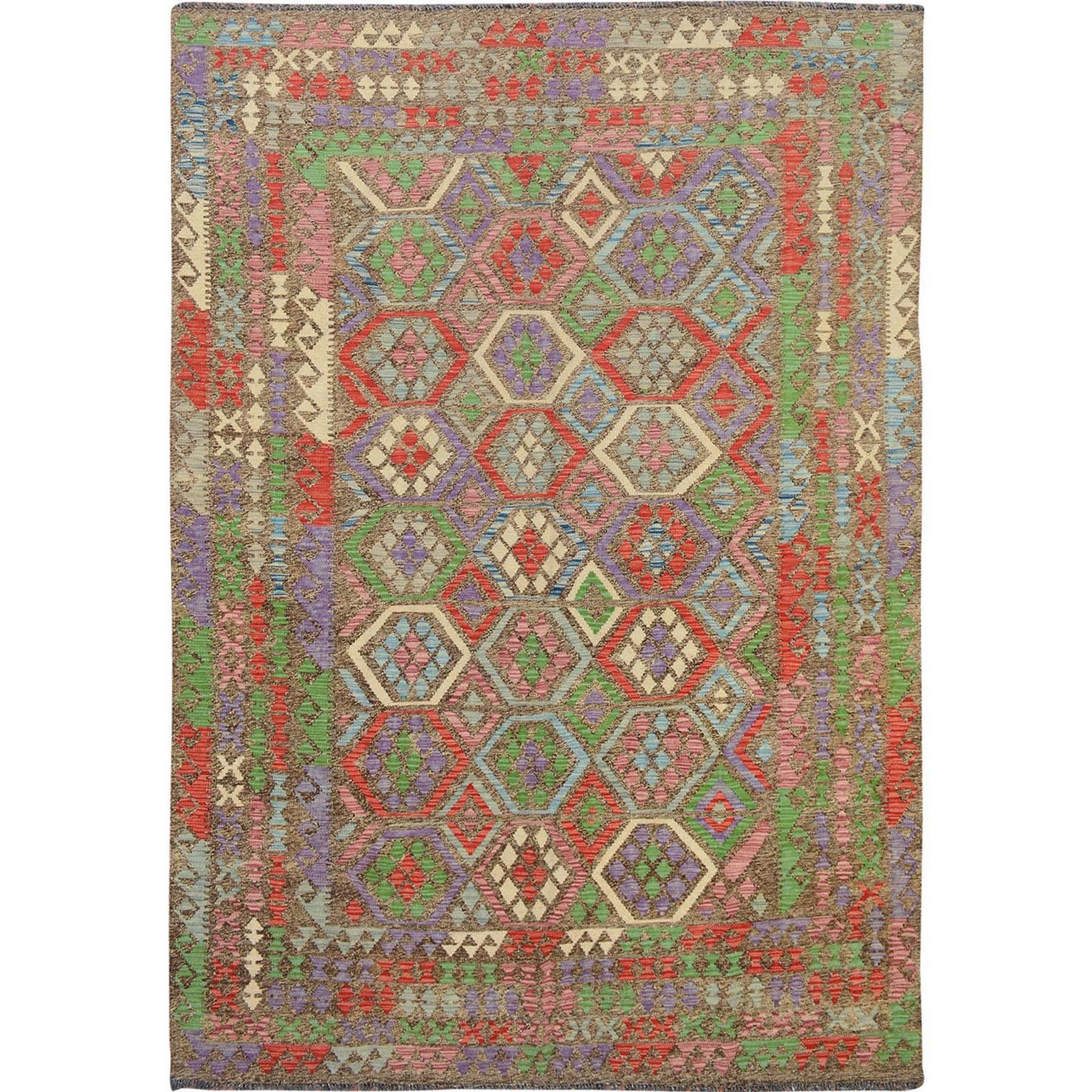 "6'9""x9'8""Colorful Reversible Flat weave Afghan Kilim Pure Wool Hand Woven Oriental Rug"