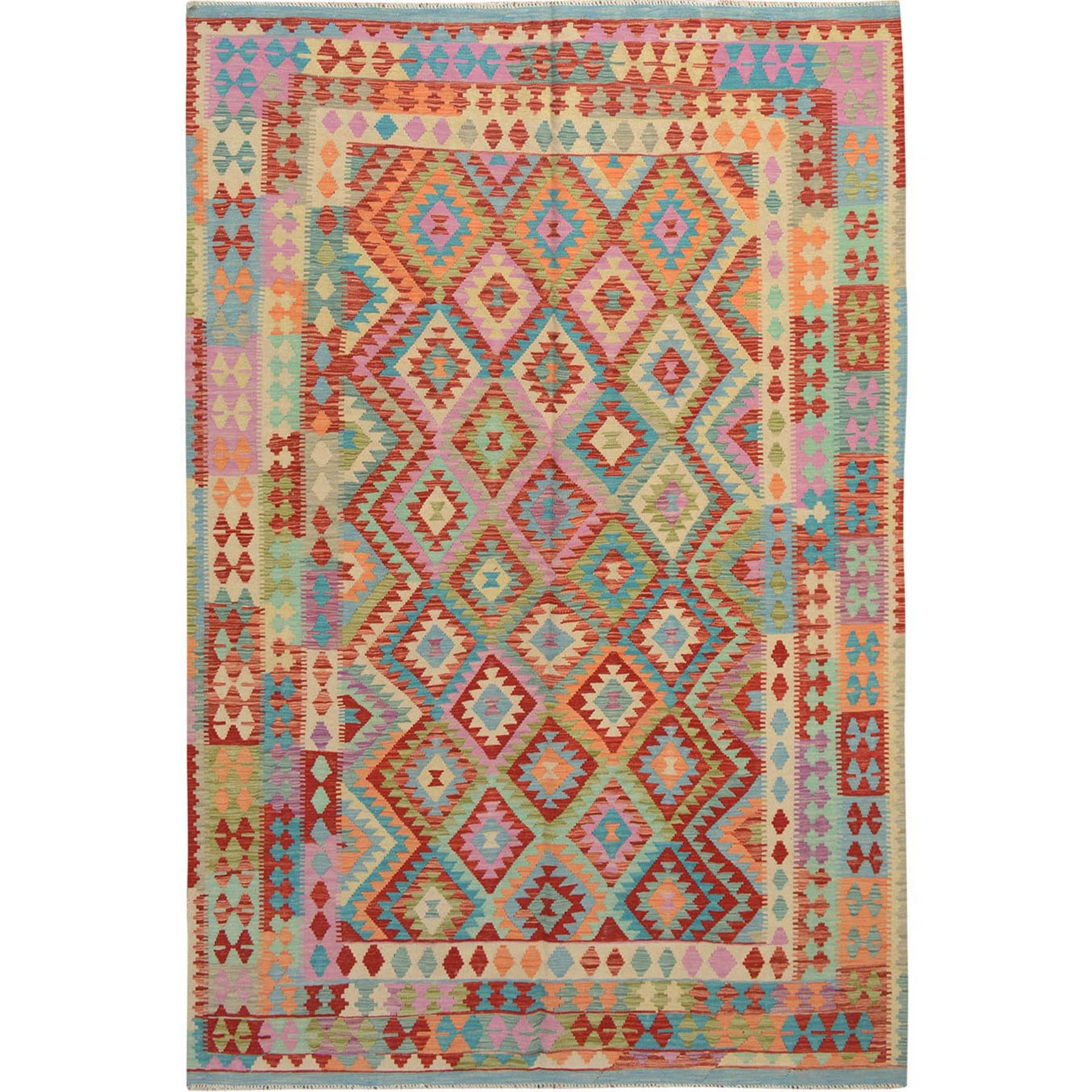 "6'6""x9'7"" Colorful Reversible Flat weave Afghan Kilim Pure Wool Hand Woven Oriental Rug"