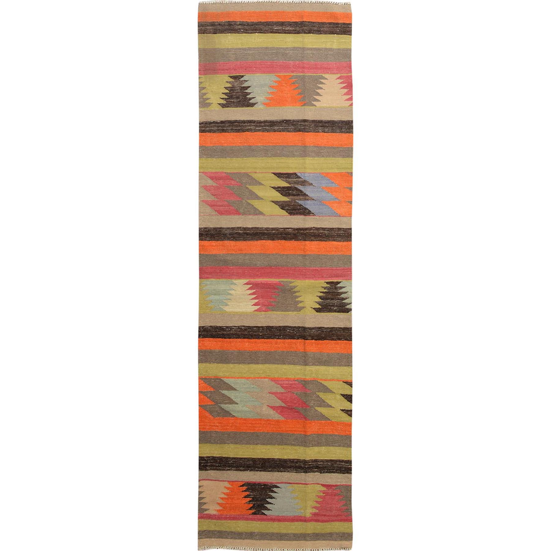 "2'6""x9'6"" Colorful Afghan Kilim Reversible Pure Wool Hand Woven Runner Oriental Rug"