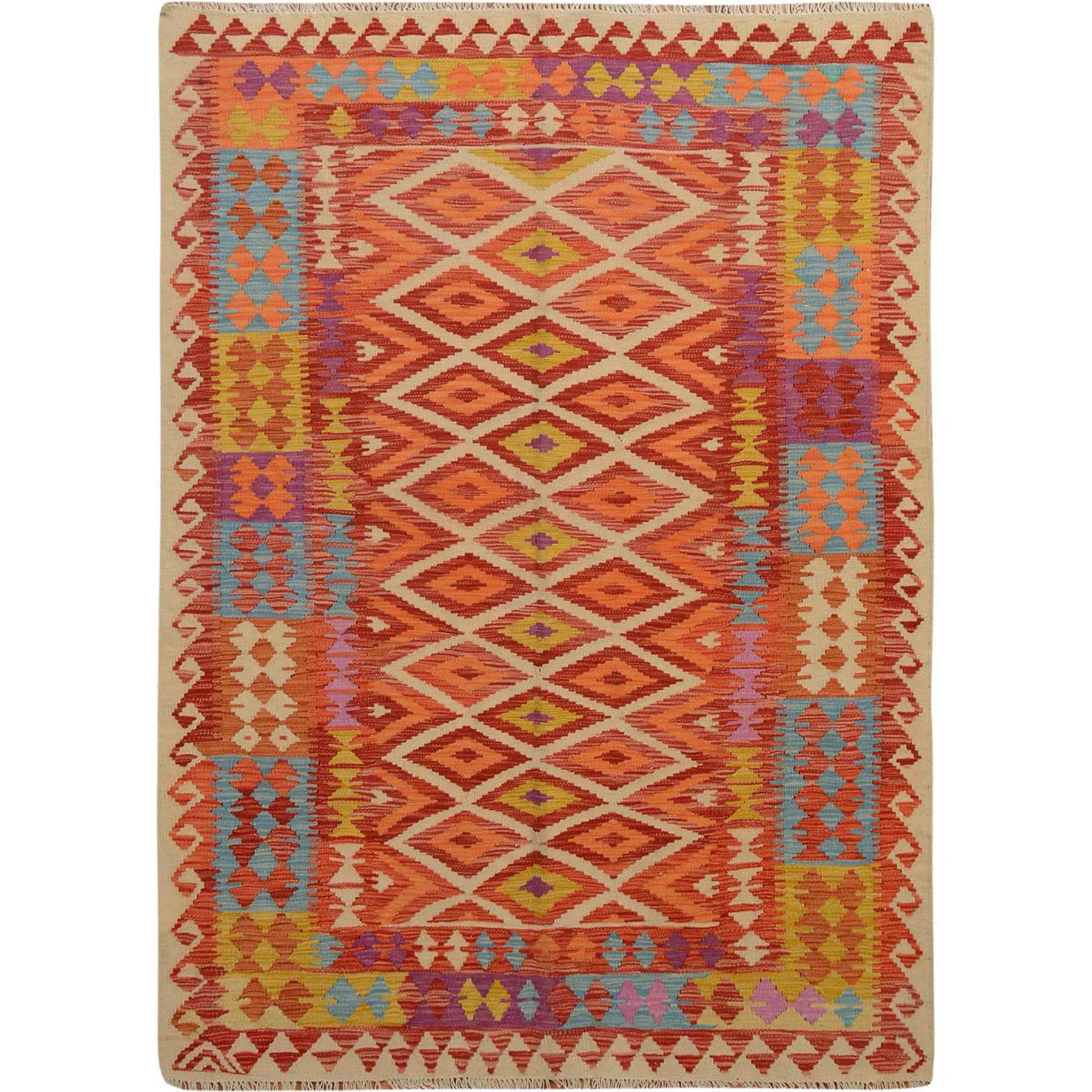 "4'10""x6'3"" Colorful Afghan Reversible Kilim Pure Wool Hand Woven Oriental Rug"