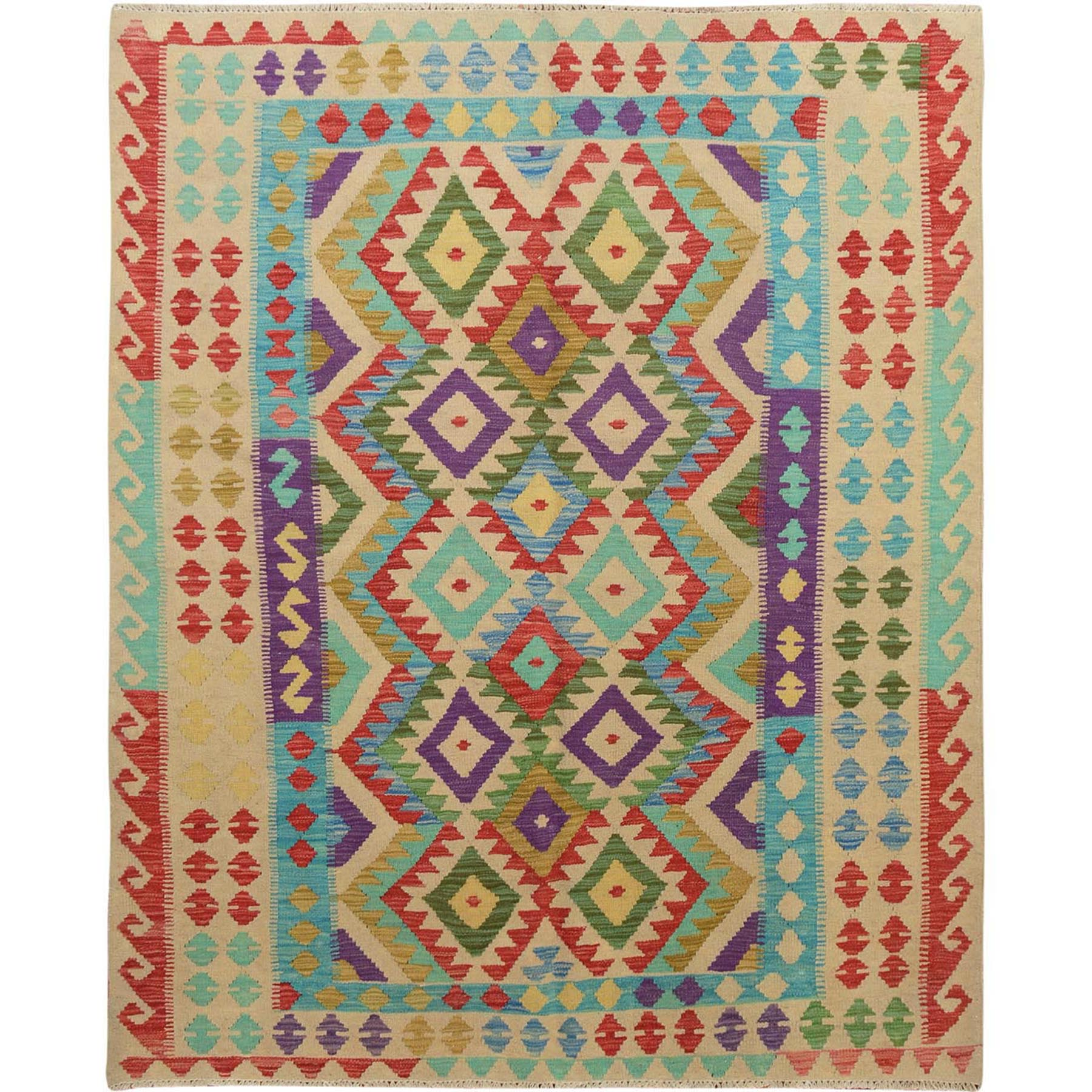 "5'2""x6'4"" Colorful Afghan Reversible Kilim Pure Wool Hand Woven Oriental Rug"
