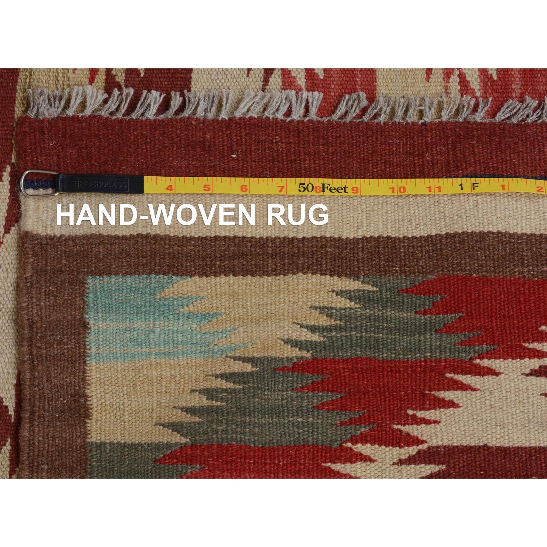 "4'10""x6'5"" Colorful Afghan Reversible Kilim Pure Wool Hand Woven Oriental Rug"