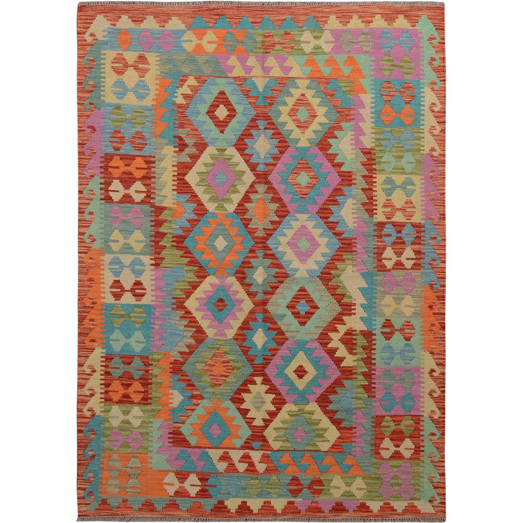 "4'10""x6'6"" Colorful Afghan Reversible Kilim Pure Wool Hand Woven Oriental Rug"