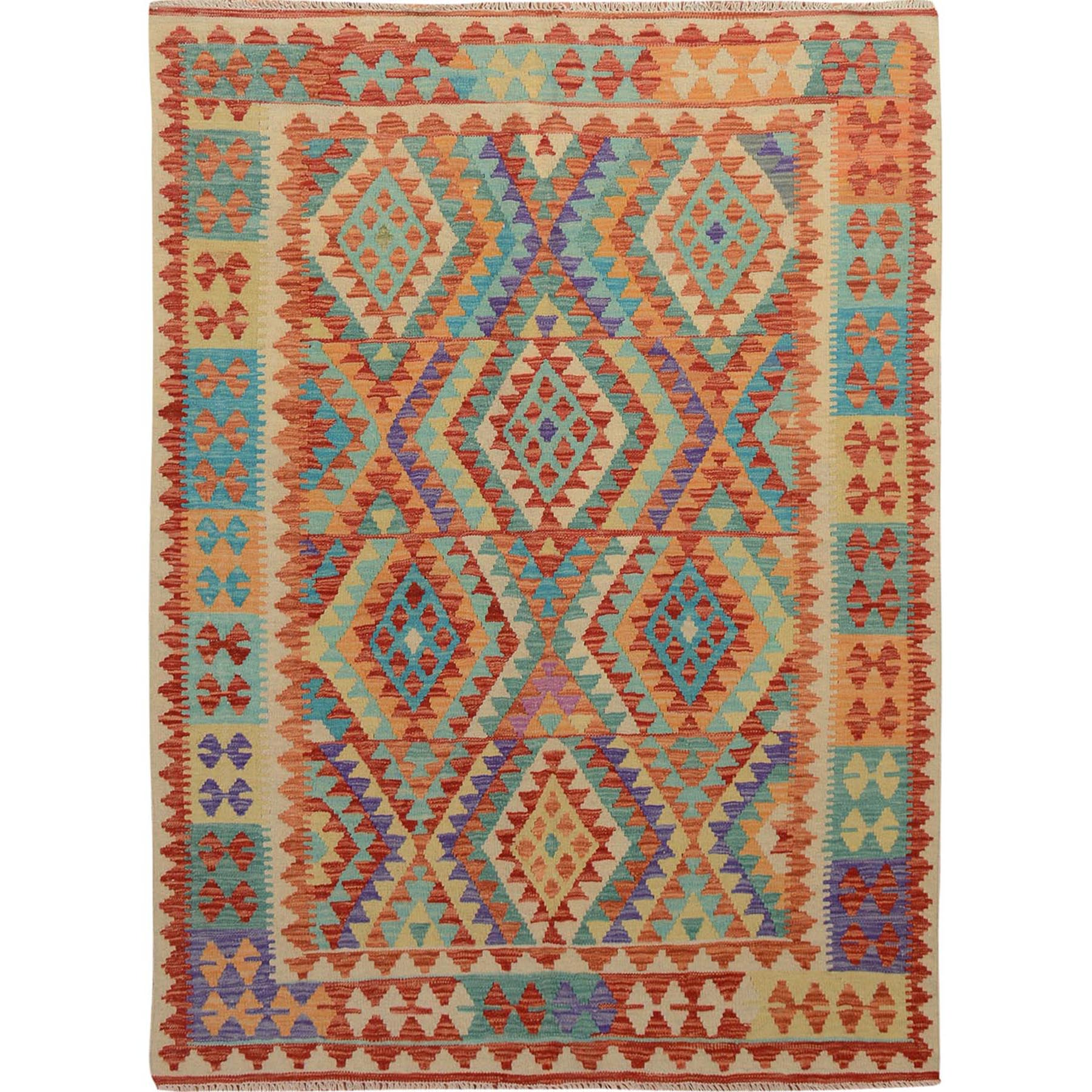 "5'x6'5"" Multi-colors Afghan Reversible Kilim Pure Wool Hand Woven Oriental Rug"