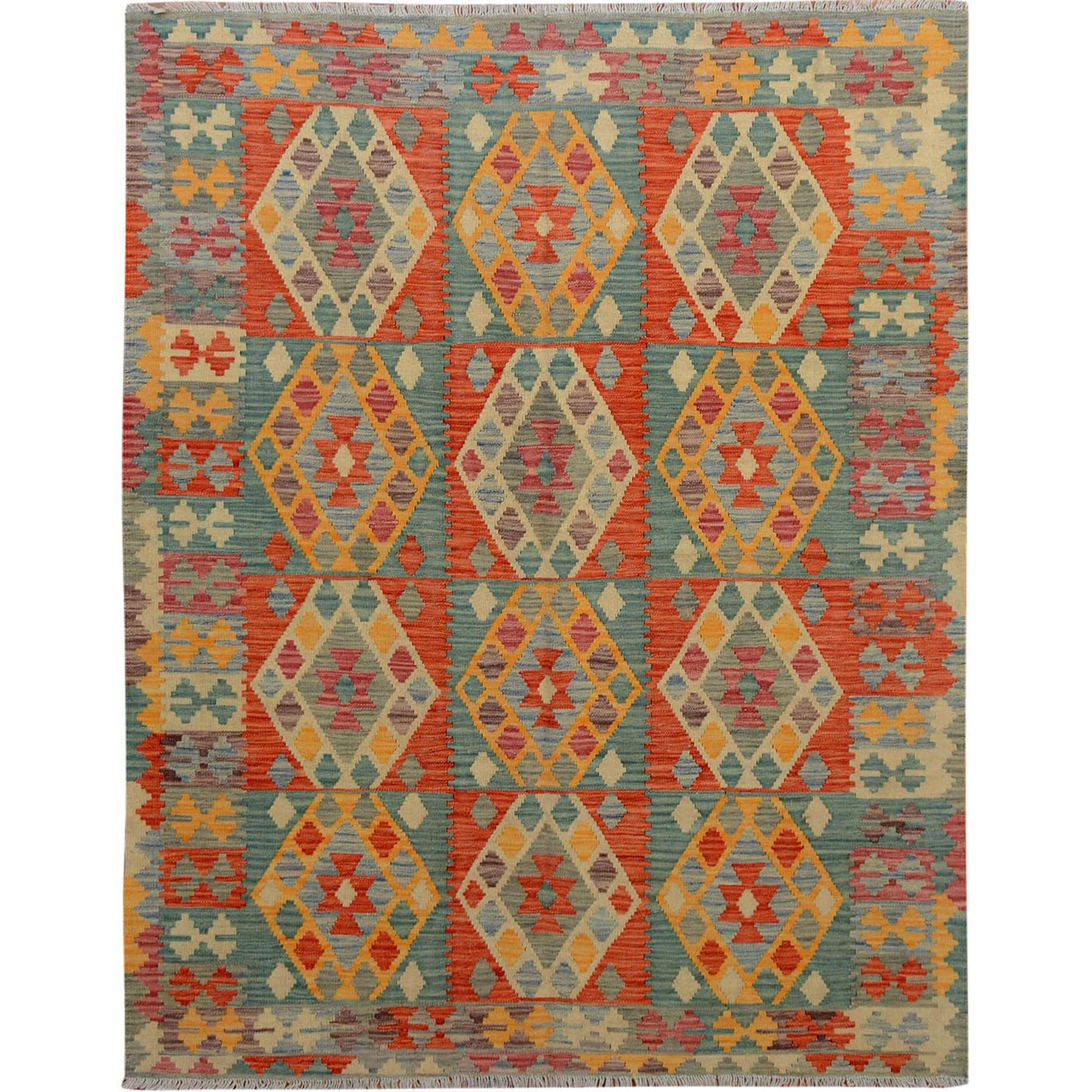 "5'1""x6'6"" Colorful Afghan Reversible Kilim 100% Wool Hand Woven Oriental Rug"
