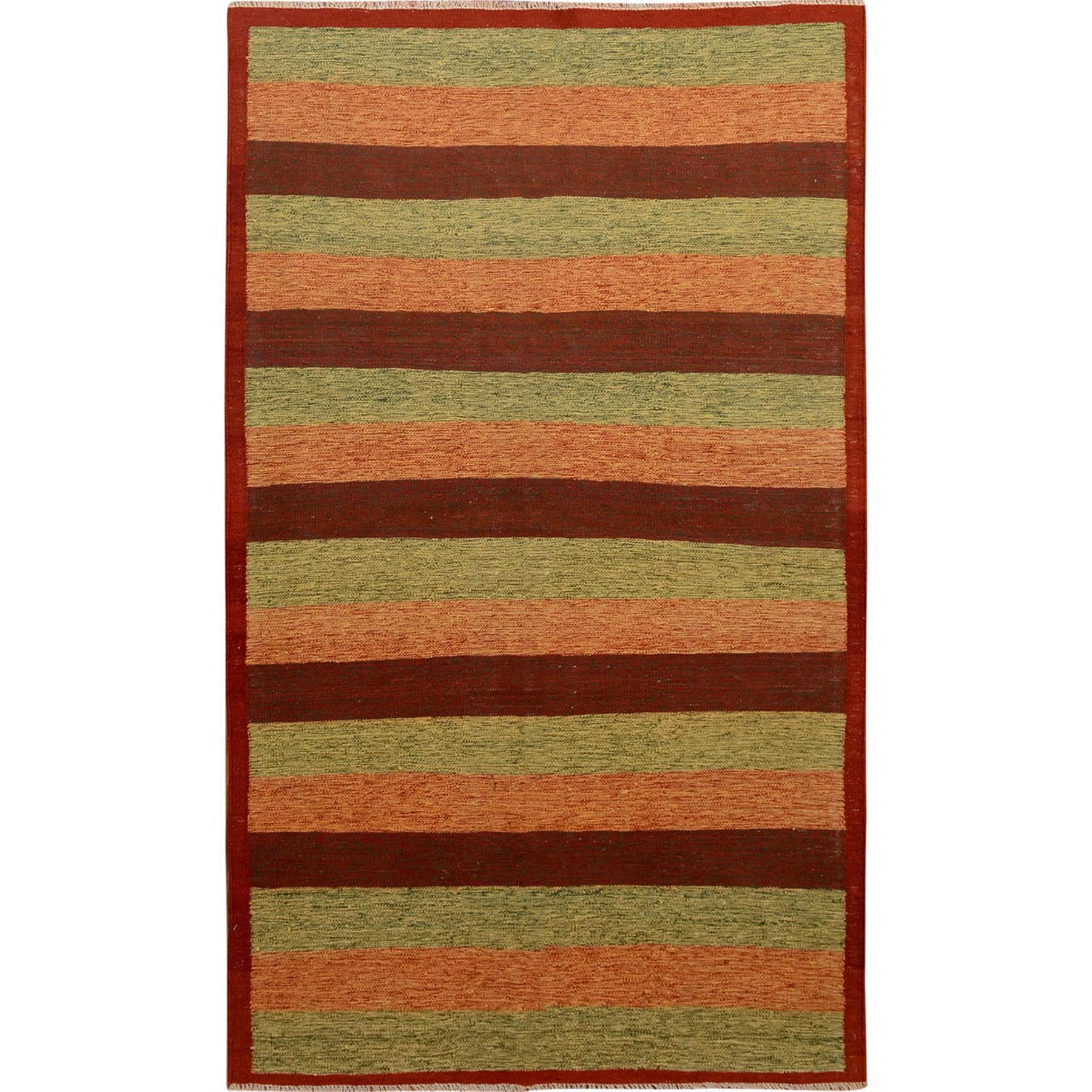 "4'9""x8' Colorful Afghan Reversible Kilim Pure Wool Hand Woven Striped Oriental Rug"