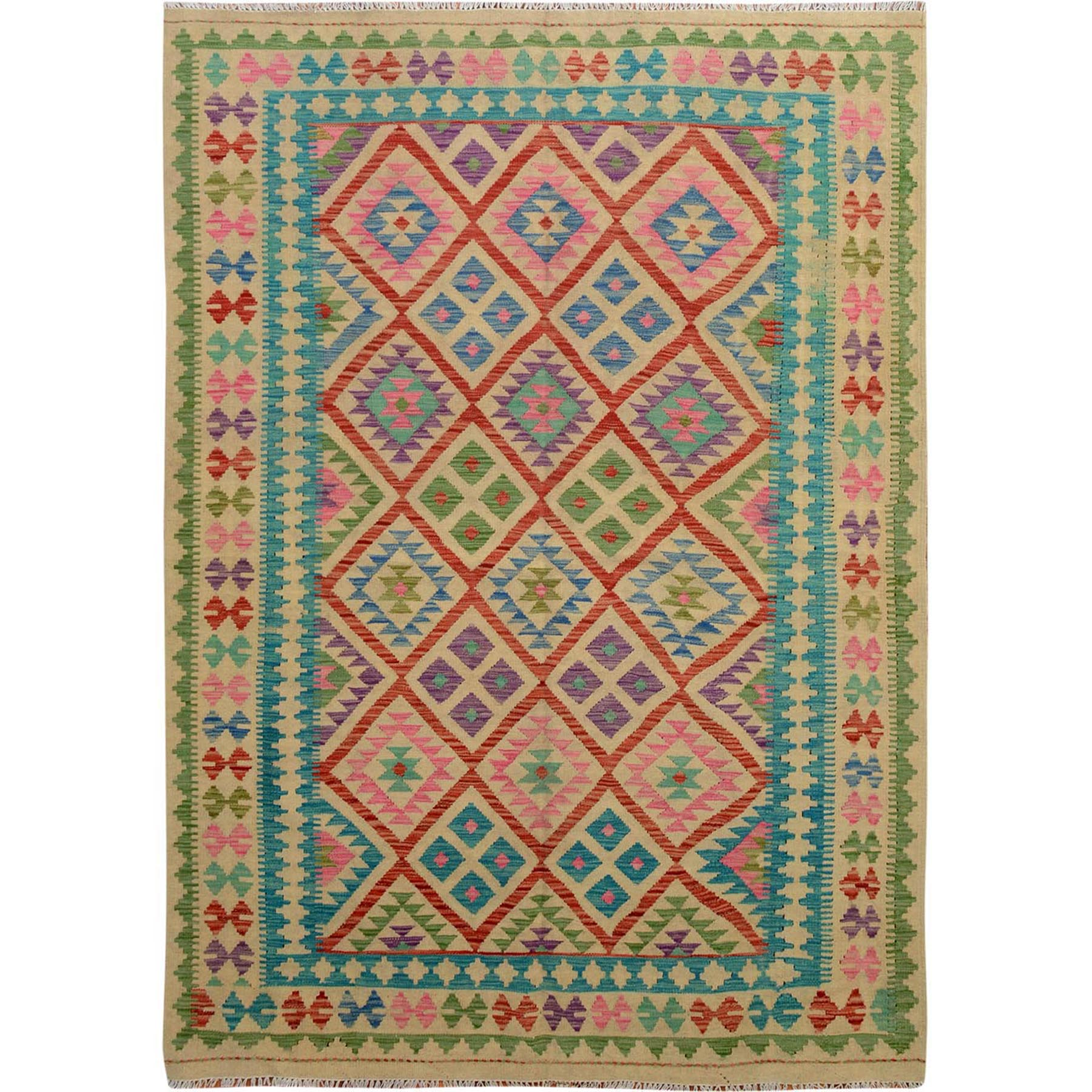 "5'7""x7'10"" Multi-Colors Afghan Reversible Kilim Pure Wool Hand Woven Oriental Rug"