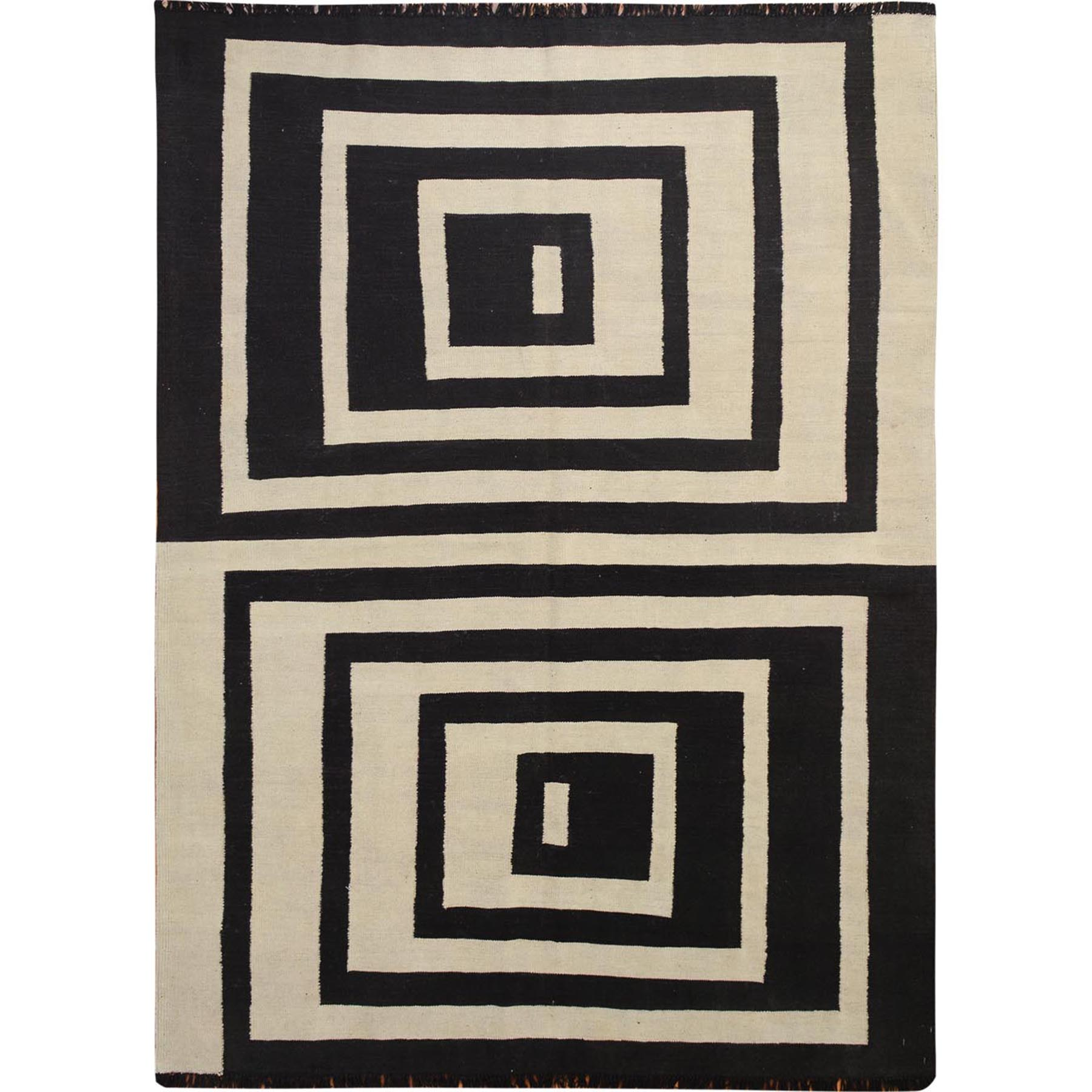 "5'8""x8' Black Afghan Reversible Kilim With Suqare Design Pure Wool Hand Woven Oriental Rug"
