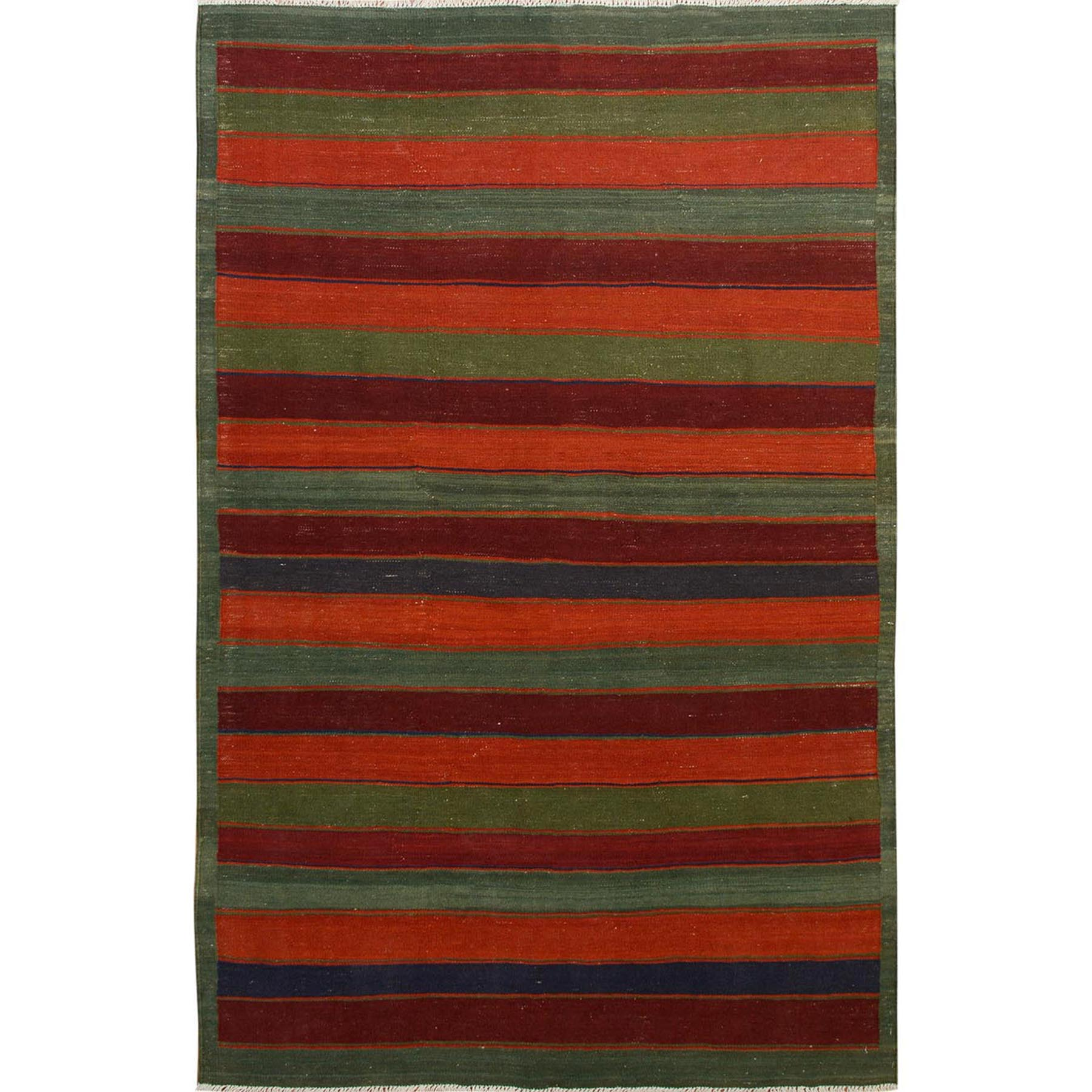 "5'x8'2"" Colorful Afghan Reversible Kilim Pure Wool Hand Woven Striped Oriental Rug"