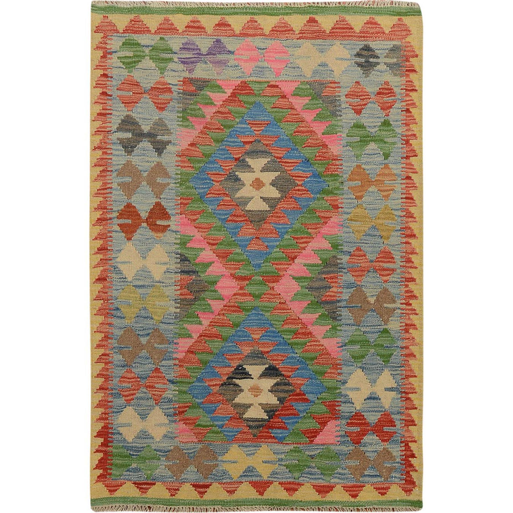 "2'8""x4' Colorful Reversible Afghan Kilim Vegetable Dyes Pure Wool Hand Woven Oriental Rug"