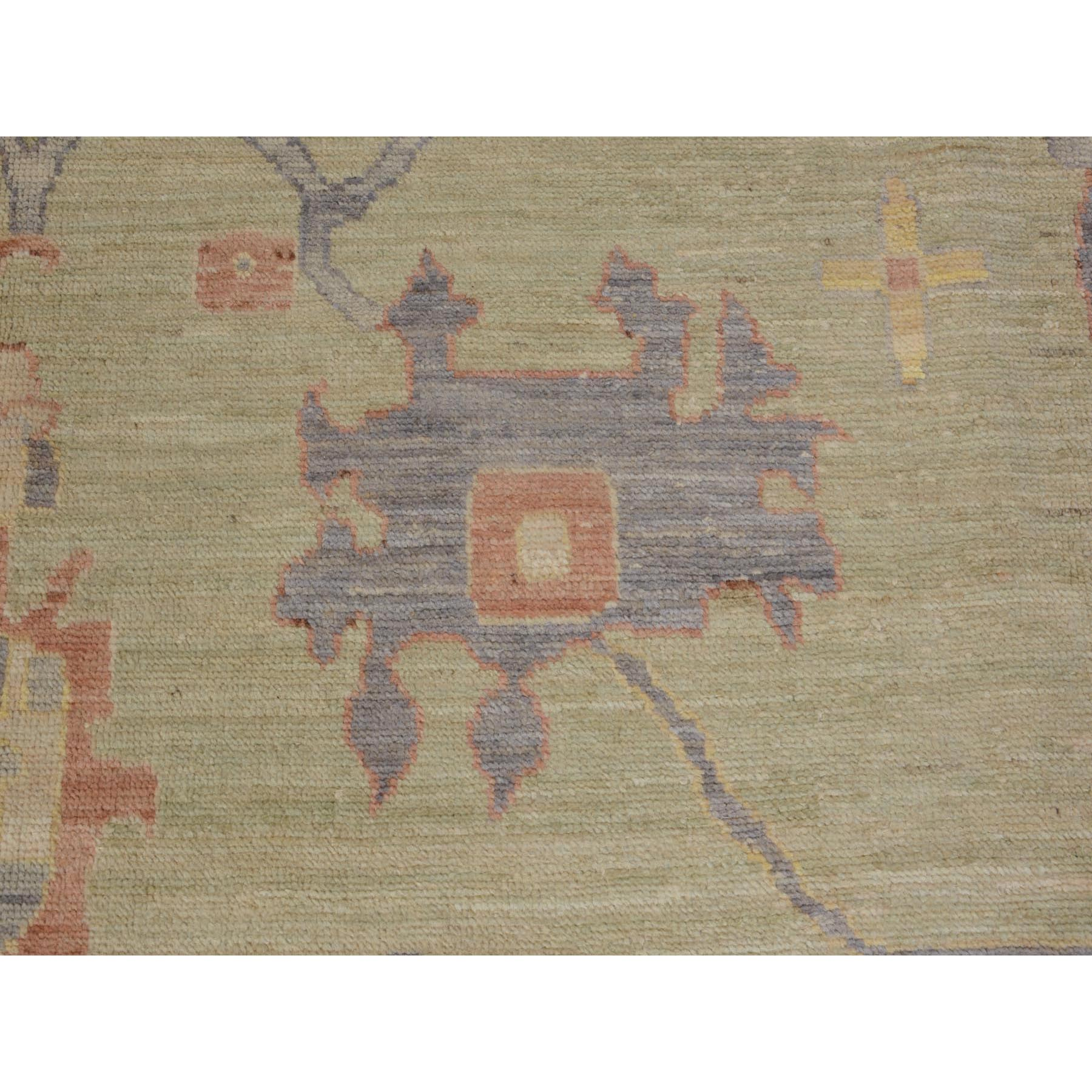"9'x12'5"" Pastel Green Angora Oushak With Silky Wool Hand Woven Oriental Rug"