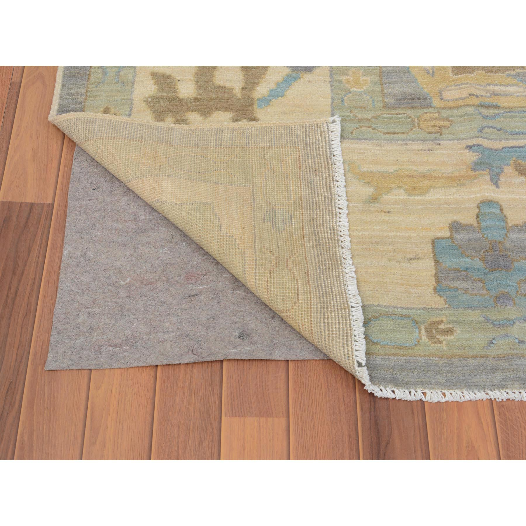 "9'6""x12'1"" Gray Angora Oushak With Soft Velvety Wool Hand Woven Oriental Rug"