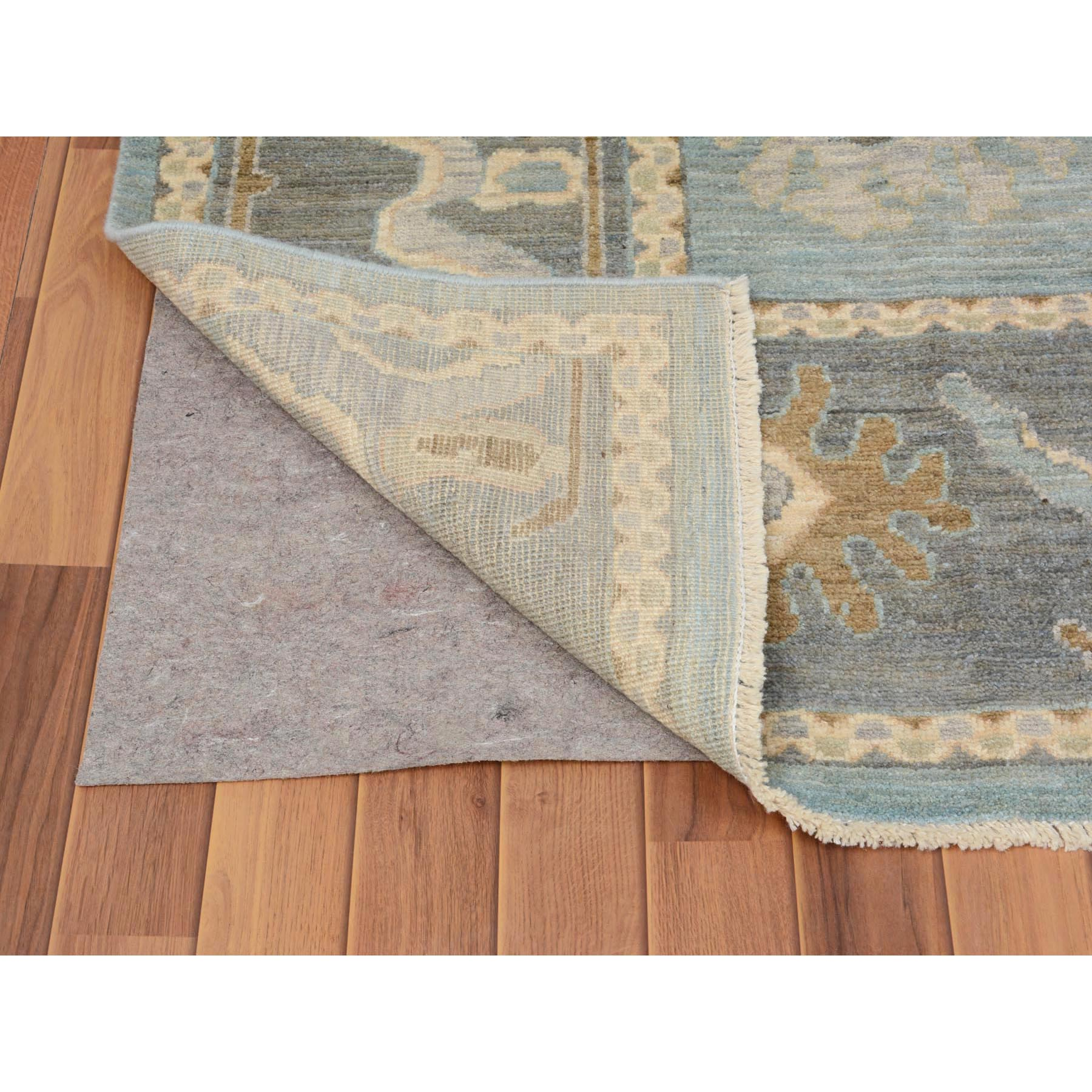 "9'1""x12' Sky Blue Angora Oushak With Silky Wool Hand Woven Oriental Rug"