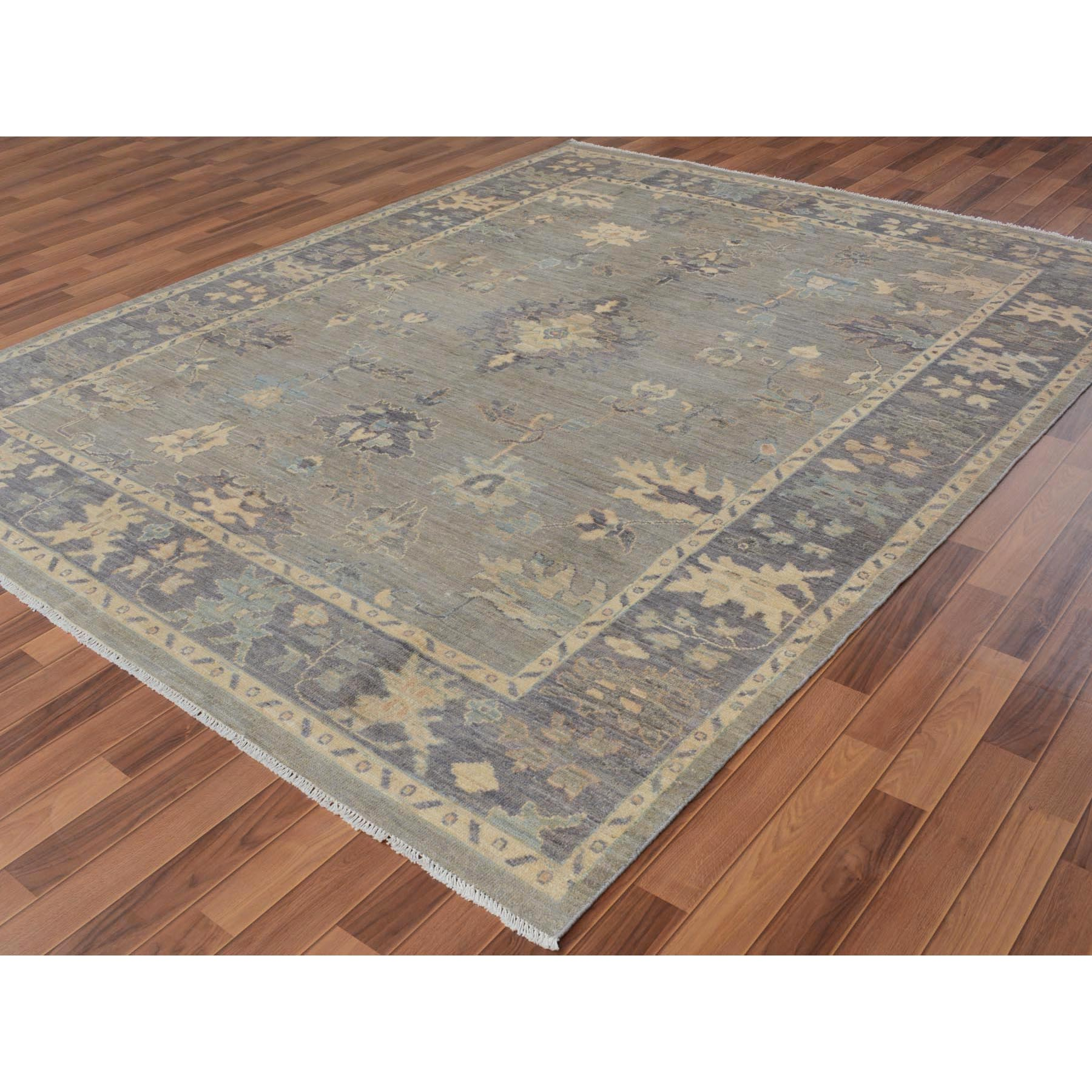 "8'2""x10'4"" Gray Angora Oushak With Soft Velvety Wool Hand Woven Oriental Rug"
