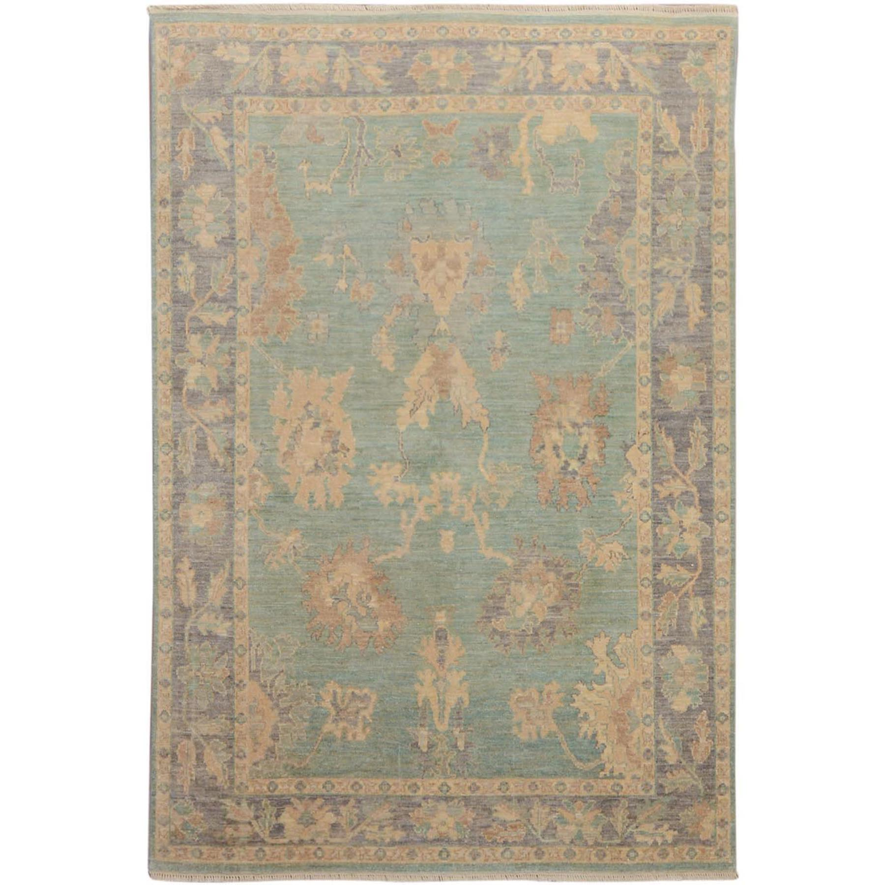 "6'1""x8'9"" Pastel Green Angora Oushak With Soft Silky wool Hand Woven Oriental Rug"