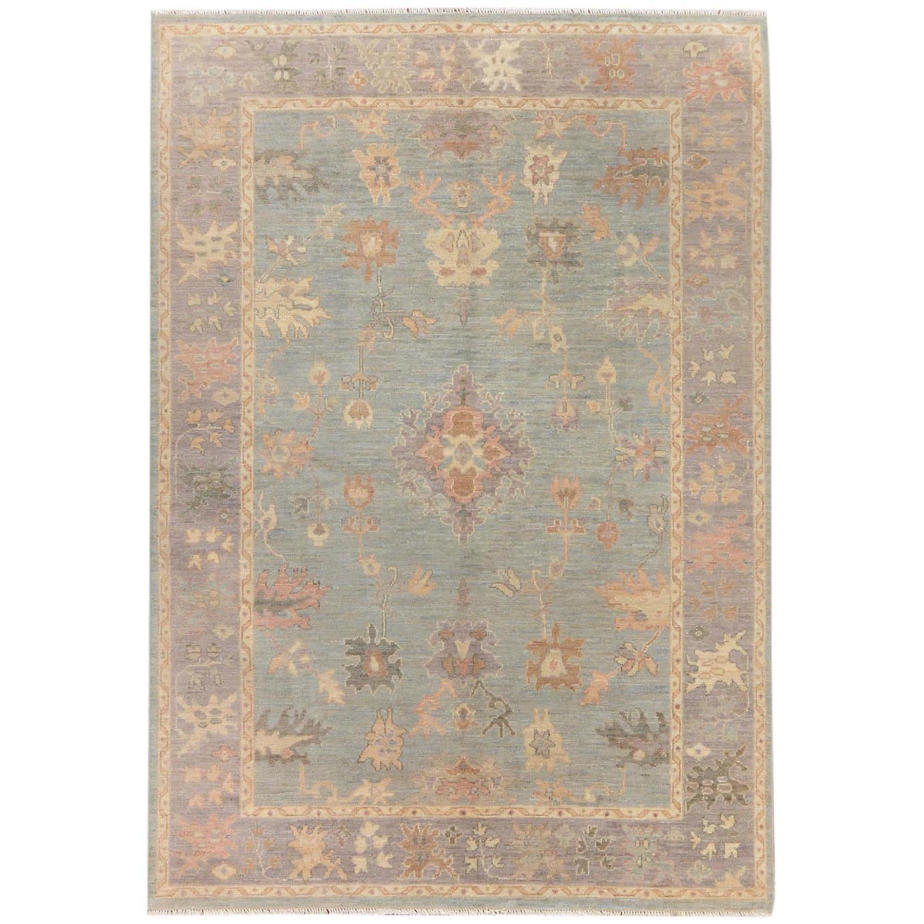 "6'x8'9"" Gray Angora Oushak With Soft Velvety Wool Hand Woven Oriental Rug"
