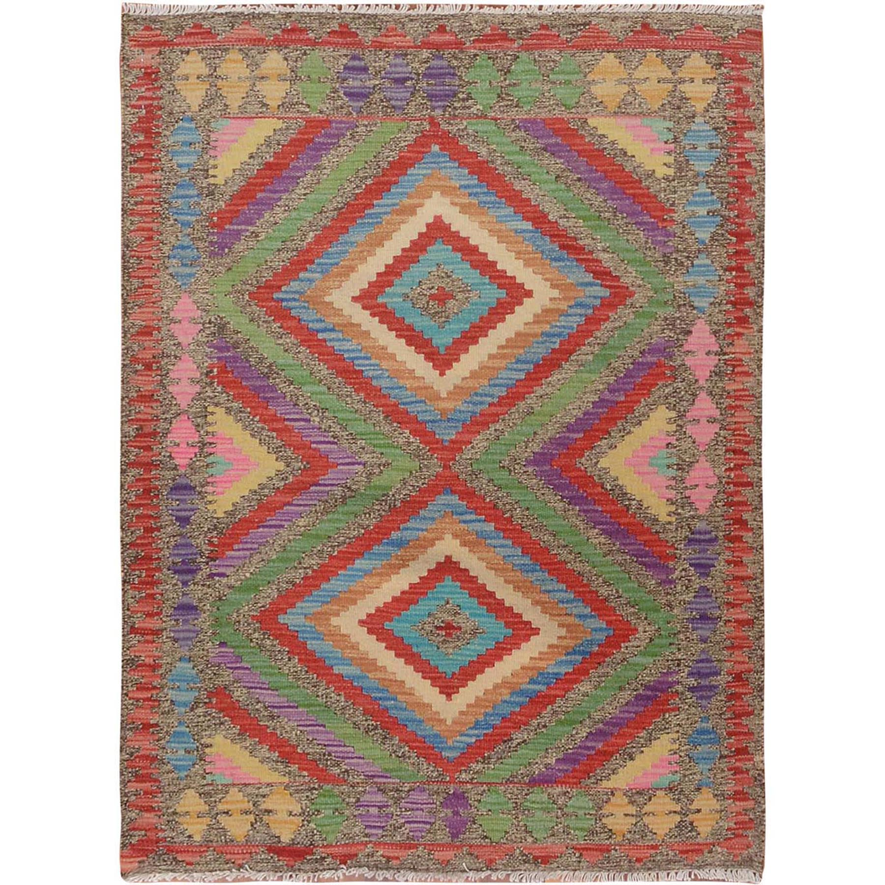 "2'9""x3'9"" Colorful Reversible Geometric Design Afghan Kilim Flat Weave Pure Wool Hand Woven Oriental Rug"