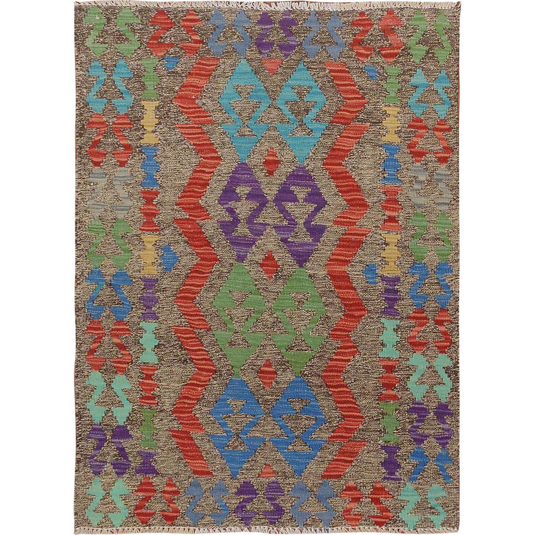 "2'8""x3'9"" Colorful Afghan Reversible Kilim Pure Wool Hand Woven Oriental Rug"