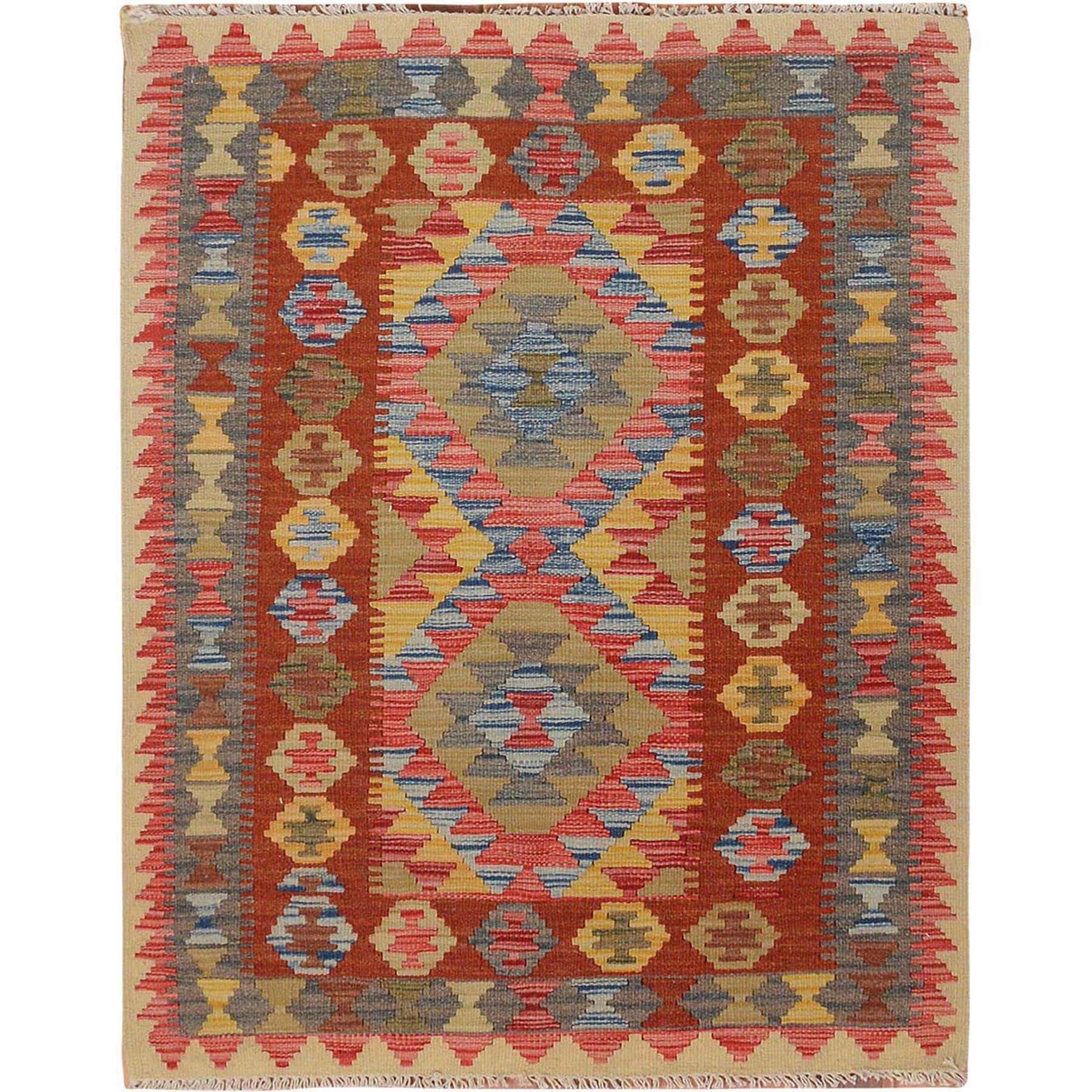 3'x4' Colorful Reversible Flat Weave Afghan Kilim Pure Wool Hand Woven Oriental Rug