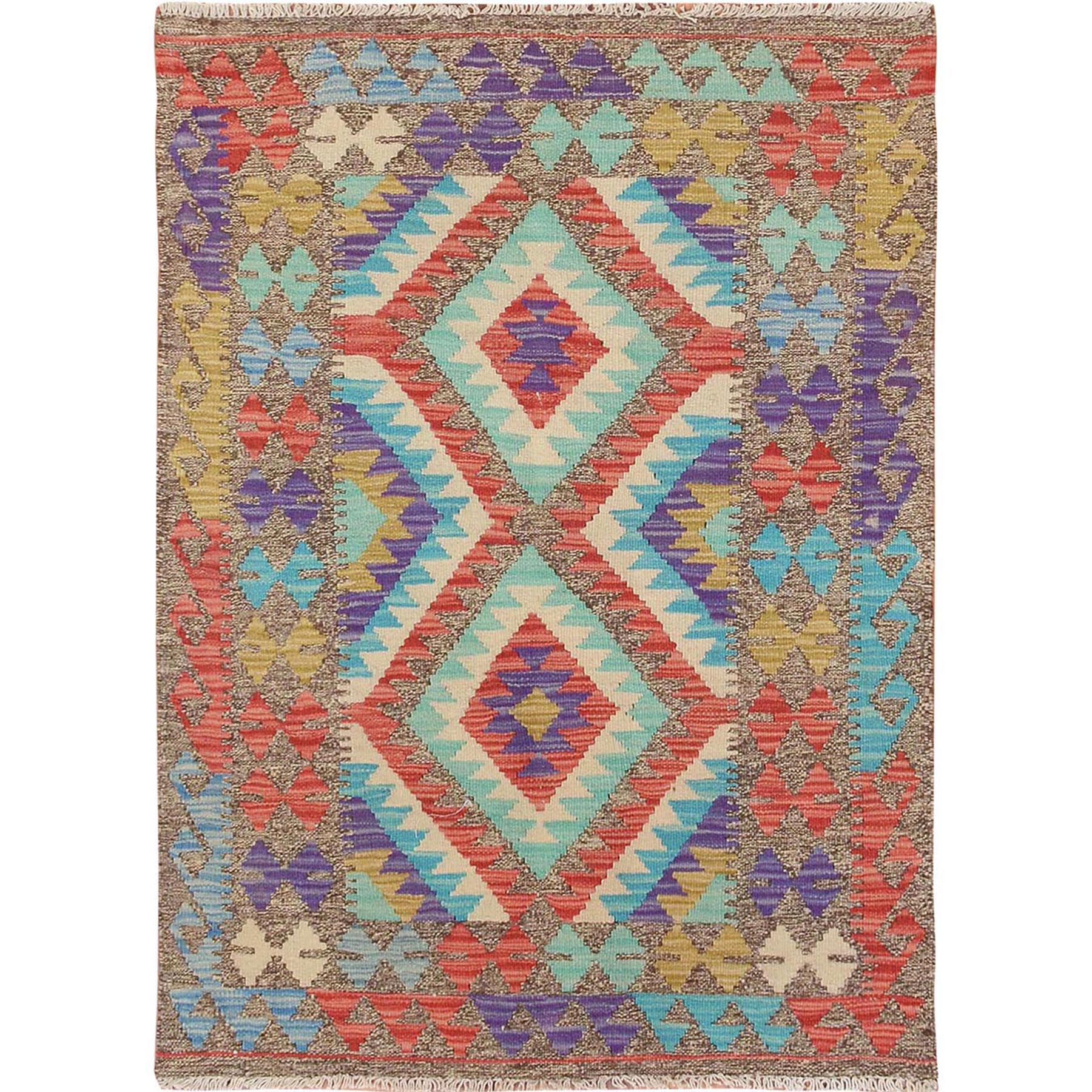 3'x4' Colorful Reversible Geometric Design Afghan Kilim Flat Weave Pure Wool Hand Woven Oriental Rug