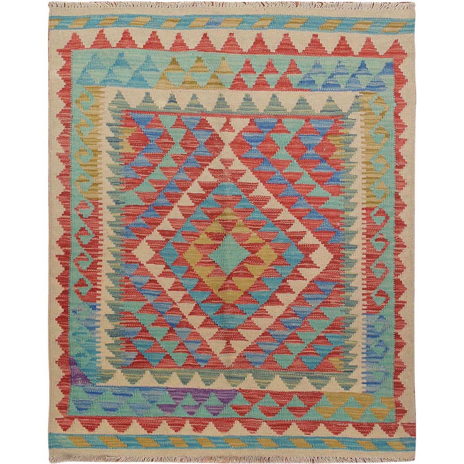 "3'x3'7"" Colorful Afghan Reversible Kilim 100% Wool Hand Woven Square Oriental Rug"