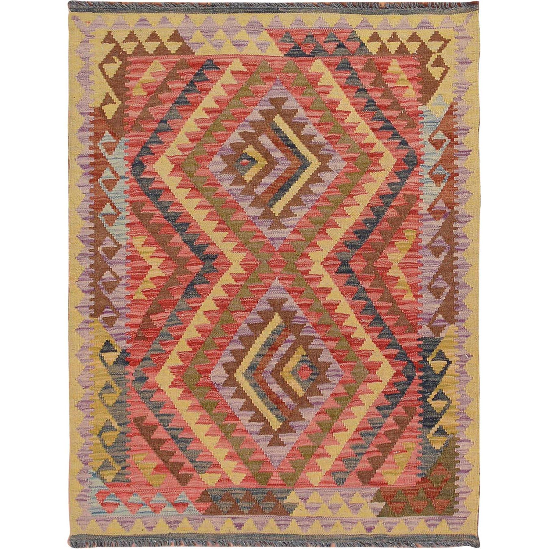 3'x4' Colorful Afghan Reversible Kilim Pure Wool Hand Woven Oriental Rug